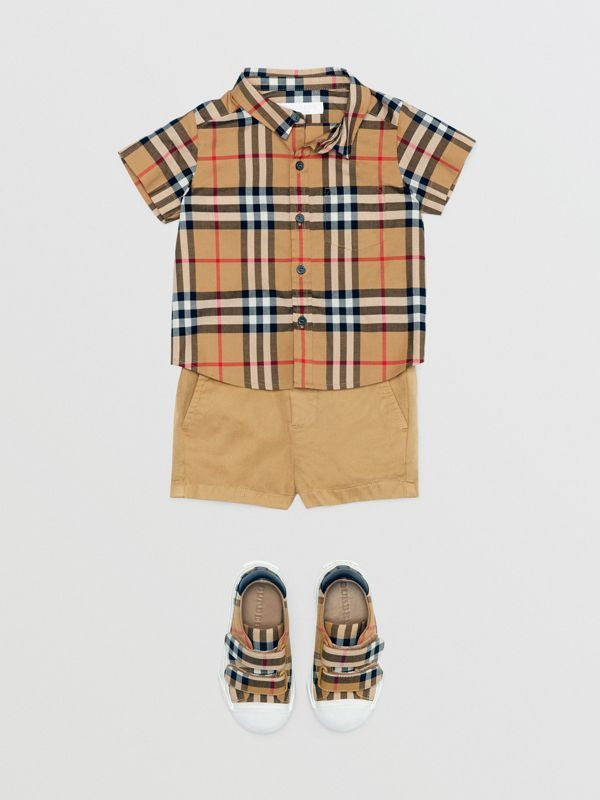 Cotton Chino Shorts in Taupe - Children | Burberry - cell image 2