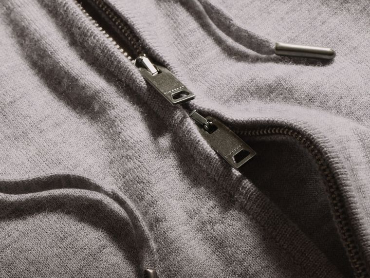 Mid grey melange Hooded Cashmere Top - cell image 1