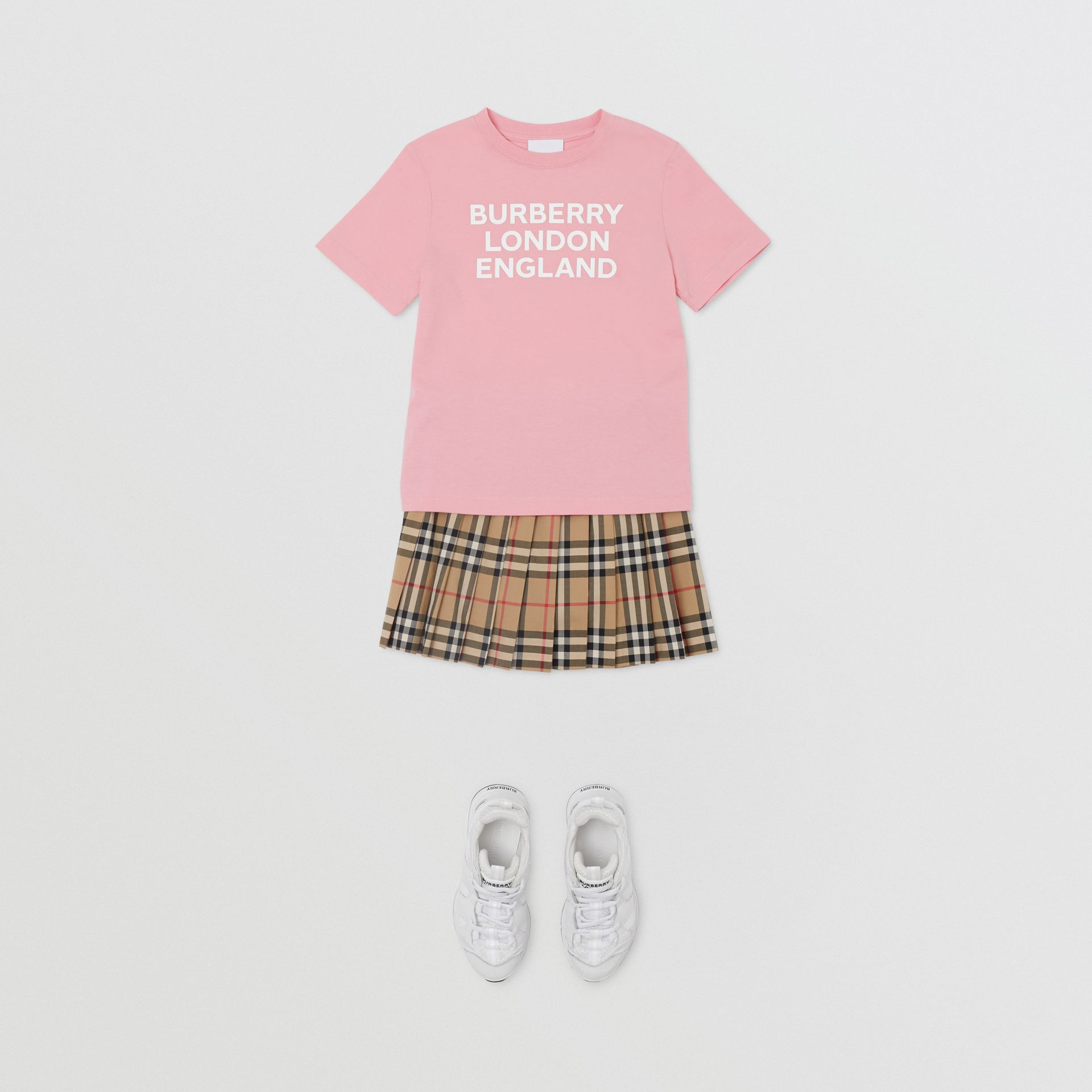 Logo Print Cotton T-shirt in Candy Pink | Burberry United Kingdom - gallery image 2
