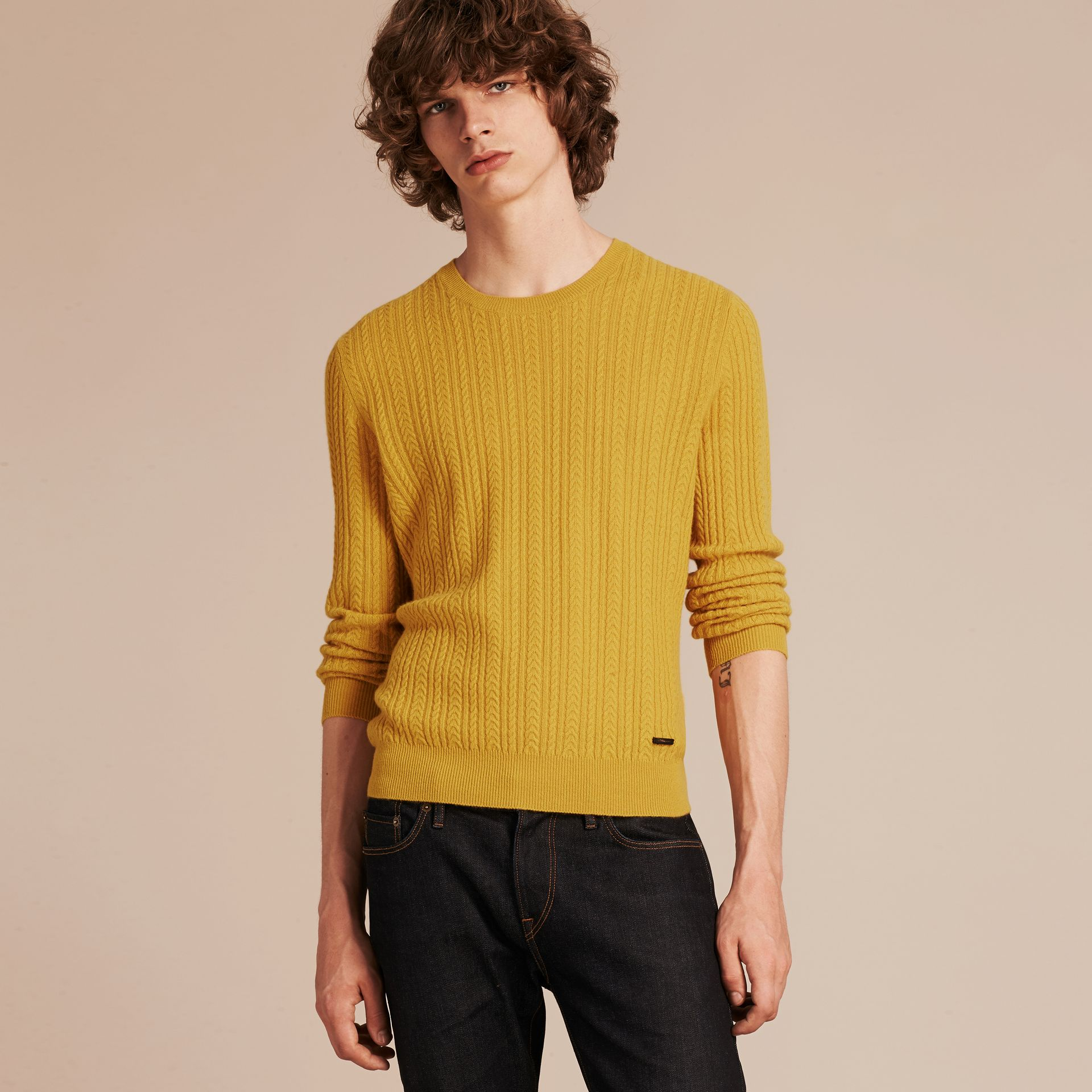 Citrus yellow Aran Knit Cashmere Sweater Citrus Yellow - gallery image 6