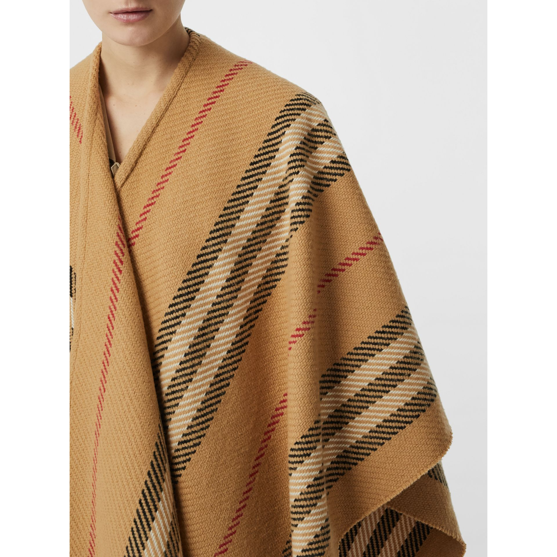 Stripe Wool Cashmere Cape in Black - Women | Burberry Australia - gallery image 1