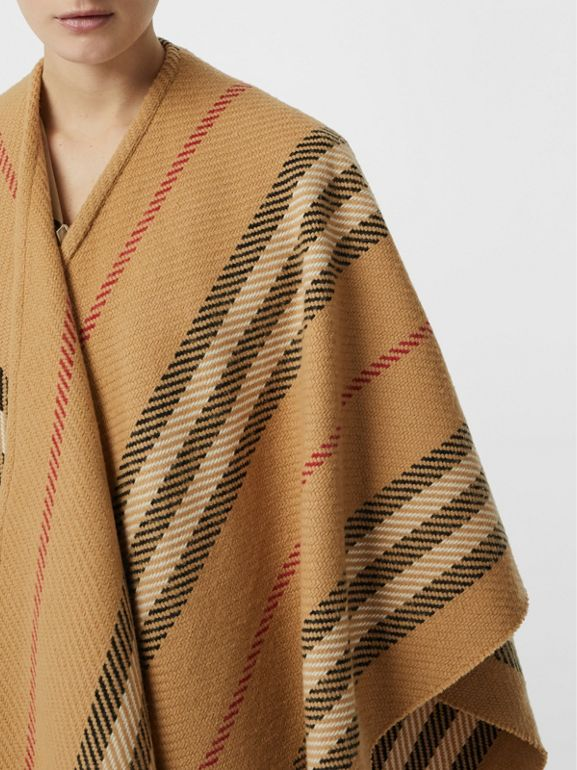 Stripe Wool Cashmere Cape in Black - Women | Burberry Australia - cell image 1