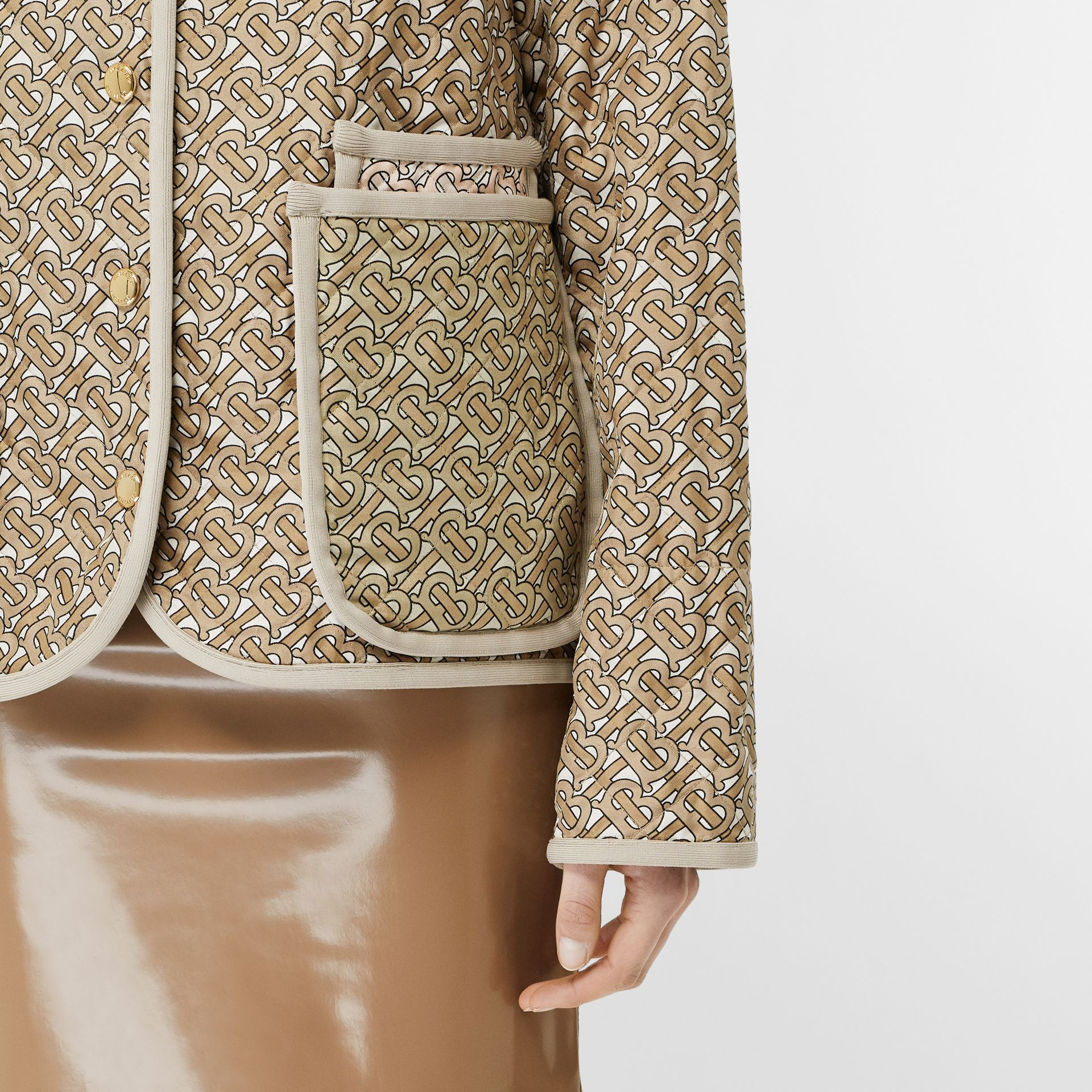 Monogram Print Quilted Silk Jacket in Archive Beige - Women | Burberry - gallery image 4