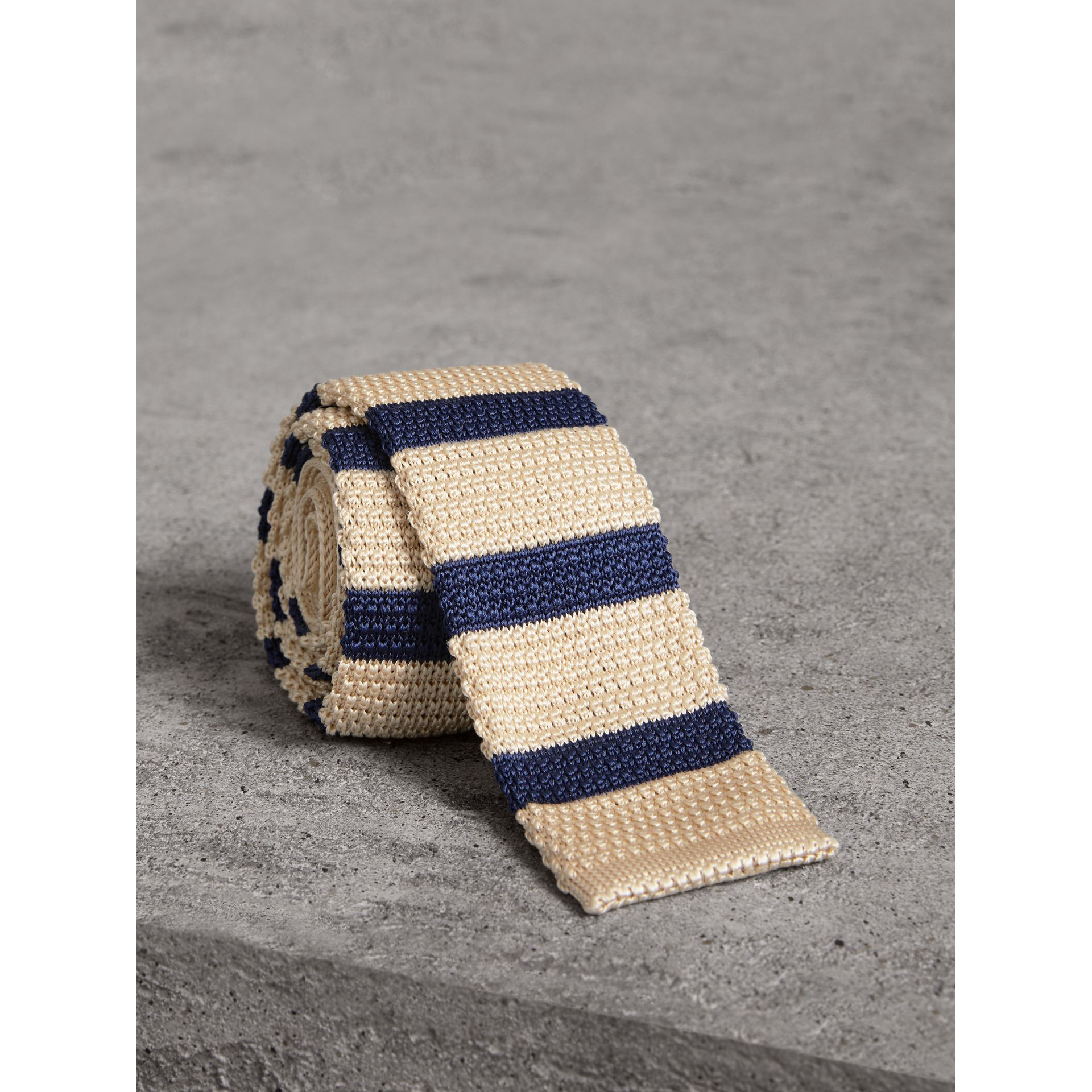 Slim Cut Two-tone Knitted Silk Tie in Limestone - Men | Burberry - gallery image 1