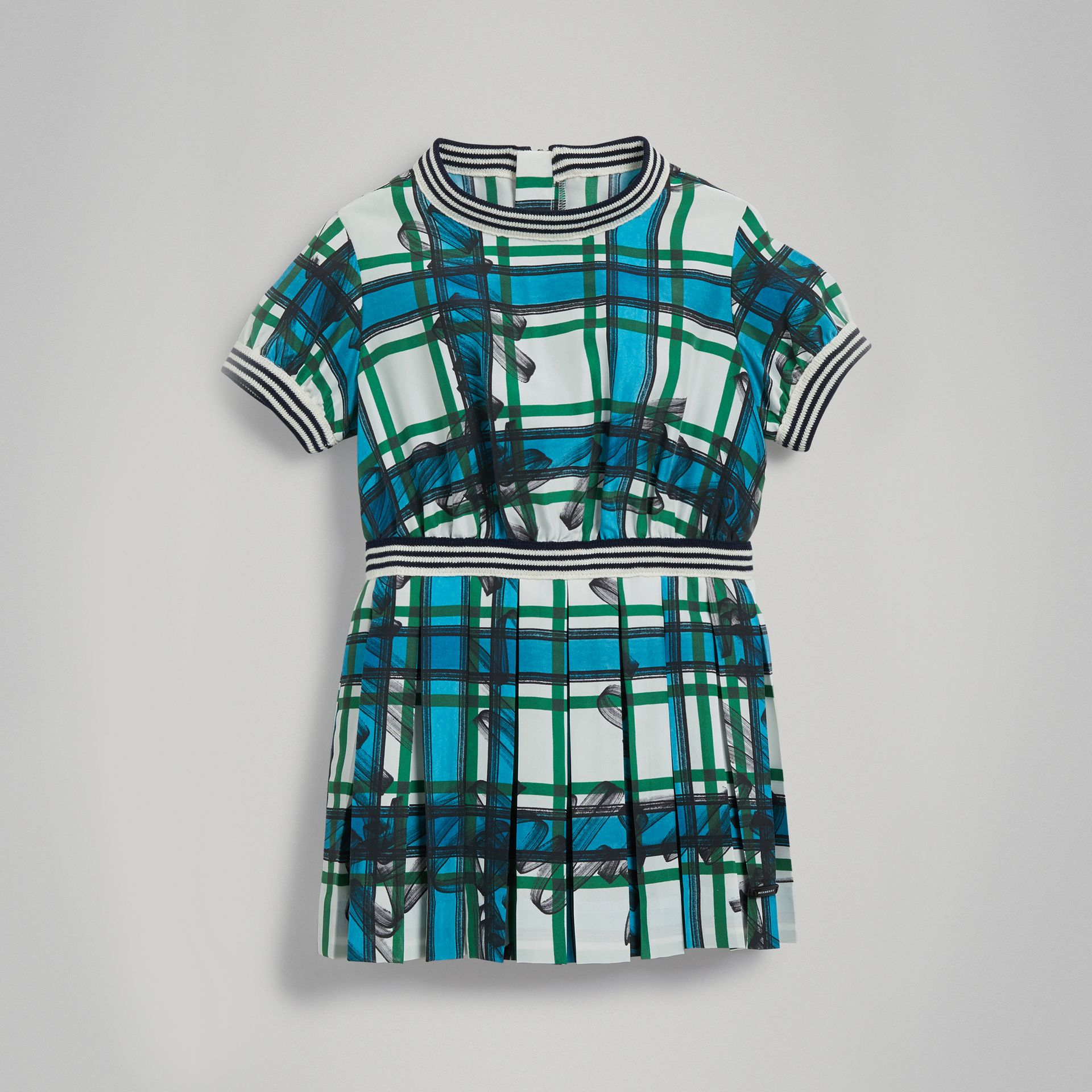 Scribble Check Pleated Silk Dress in Aqua Blue - Children | Burberry - gallery image 0