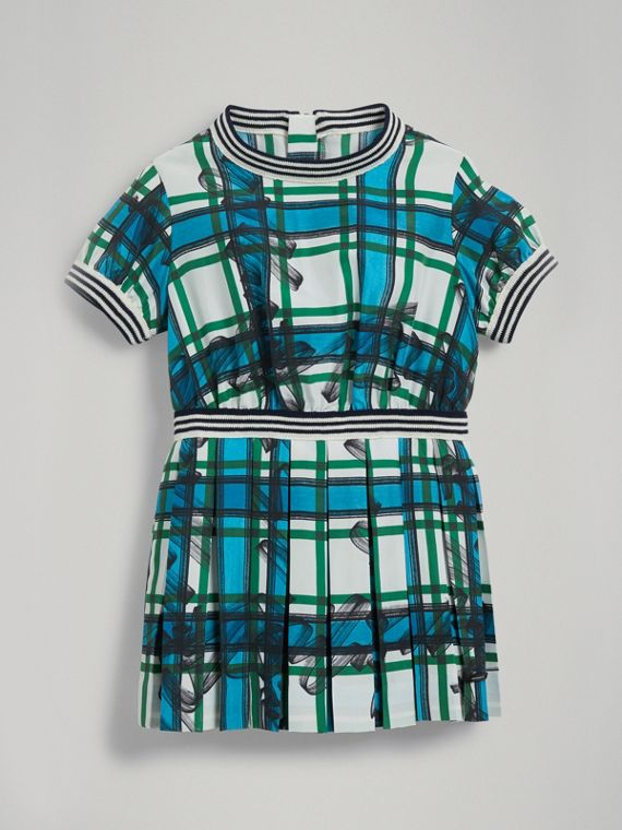 Scribble Check Pleated Silk Dress in Aqua Blue