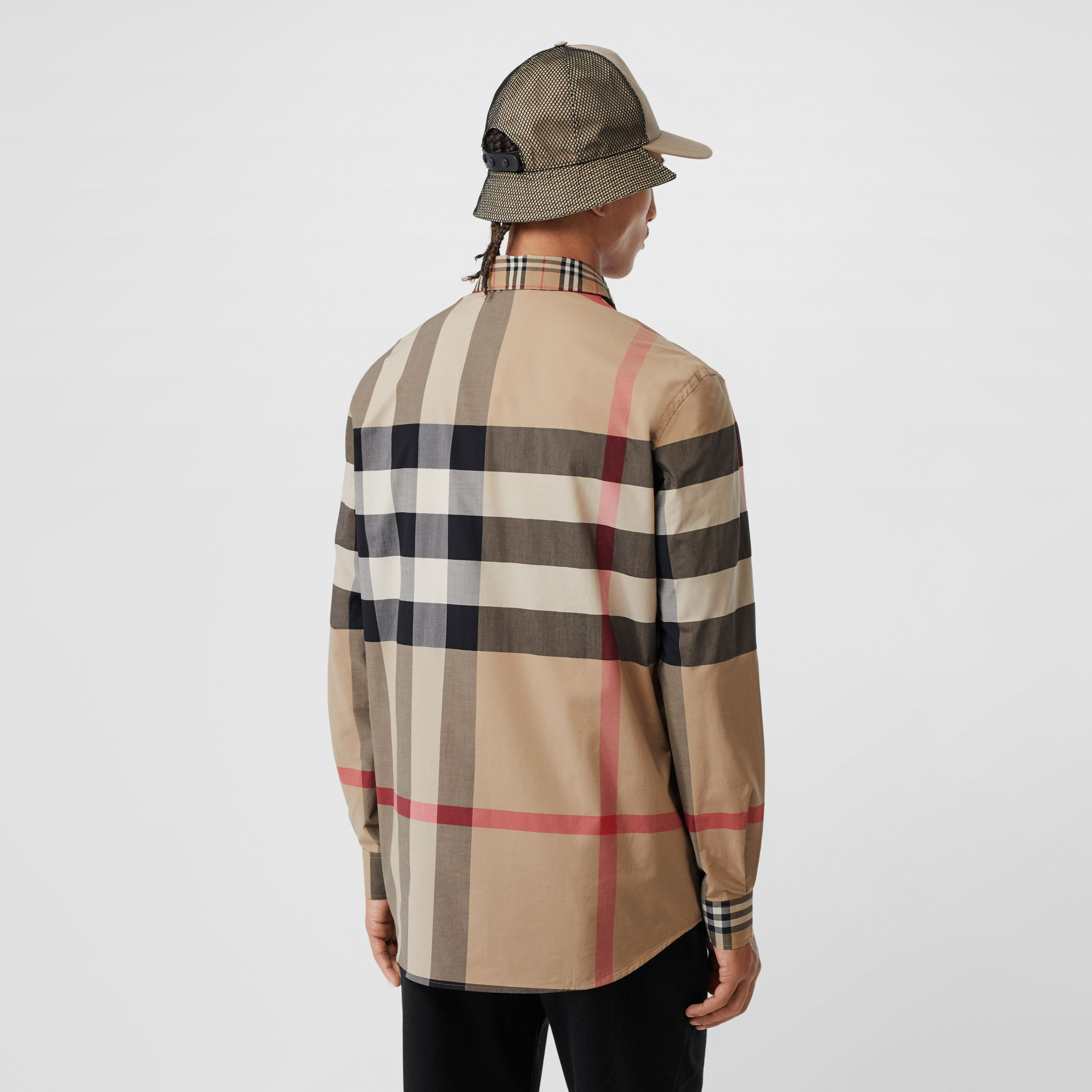 Patchwork Check Stretch Cotton Poplin Shirt in Archive Beige - Men | Burberry - 3