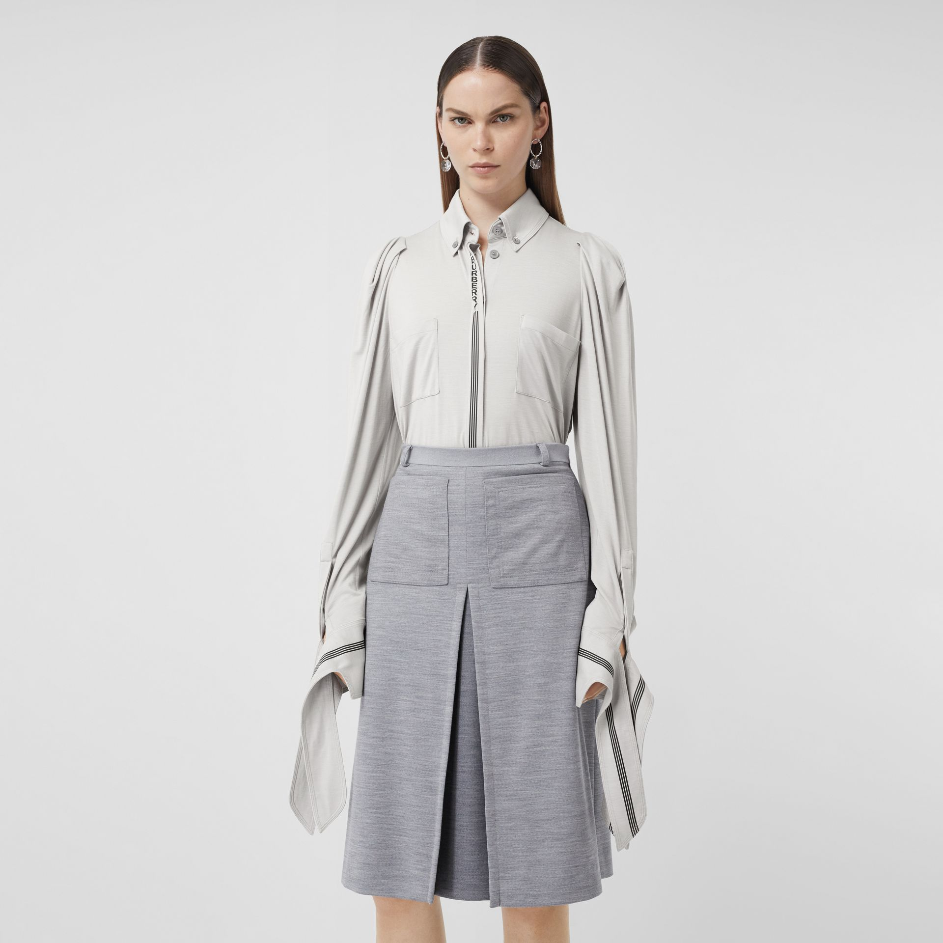 Logo Print Silk Wool Jersey Shirt in Grey Melange - Women | Burberry - gallery image 5