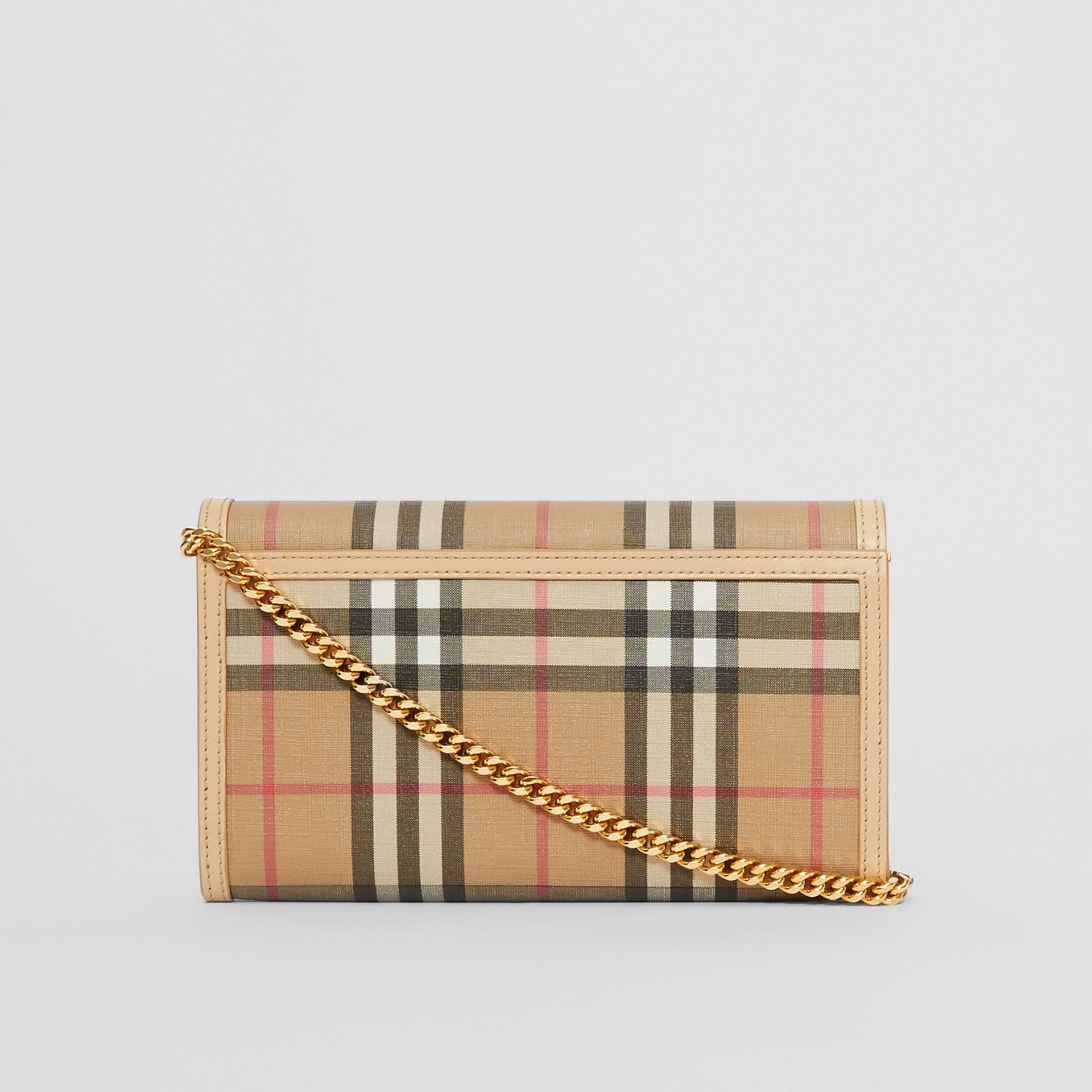 Vintage Check E-canvas Wallet with Detachable Strap in Beige - Women | Burberry - gallery image 7