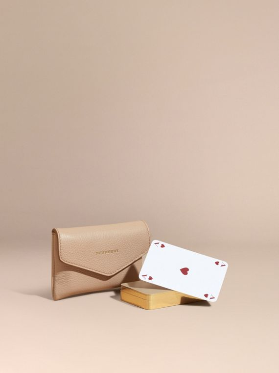 Grainy Leather Playing Card Case Pale Apricot