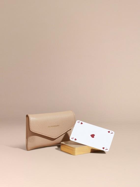 Étui pour jeu de cartes en cuir grené Abricot Pâle