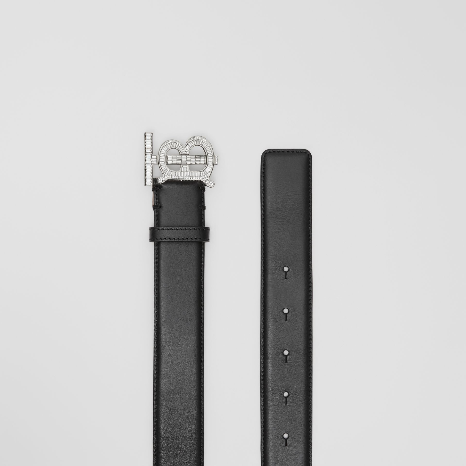 Crystal Monogram Motif Leather Belt in Black/palladium - Women | Burberry United States - gallery image 5