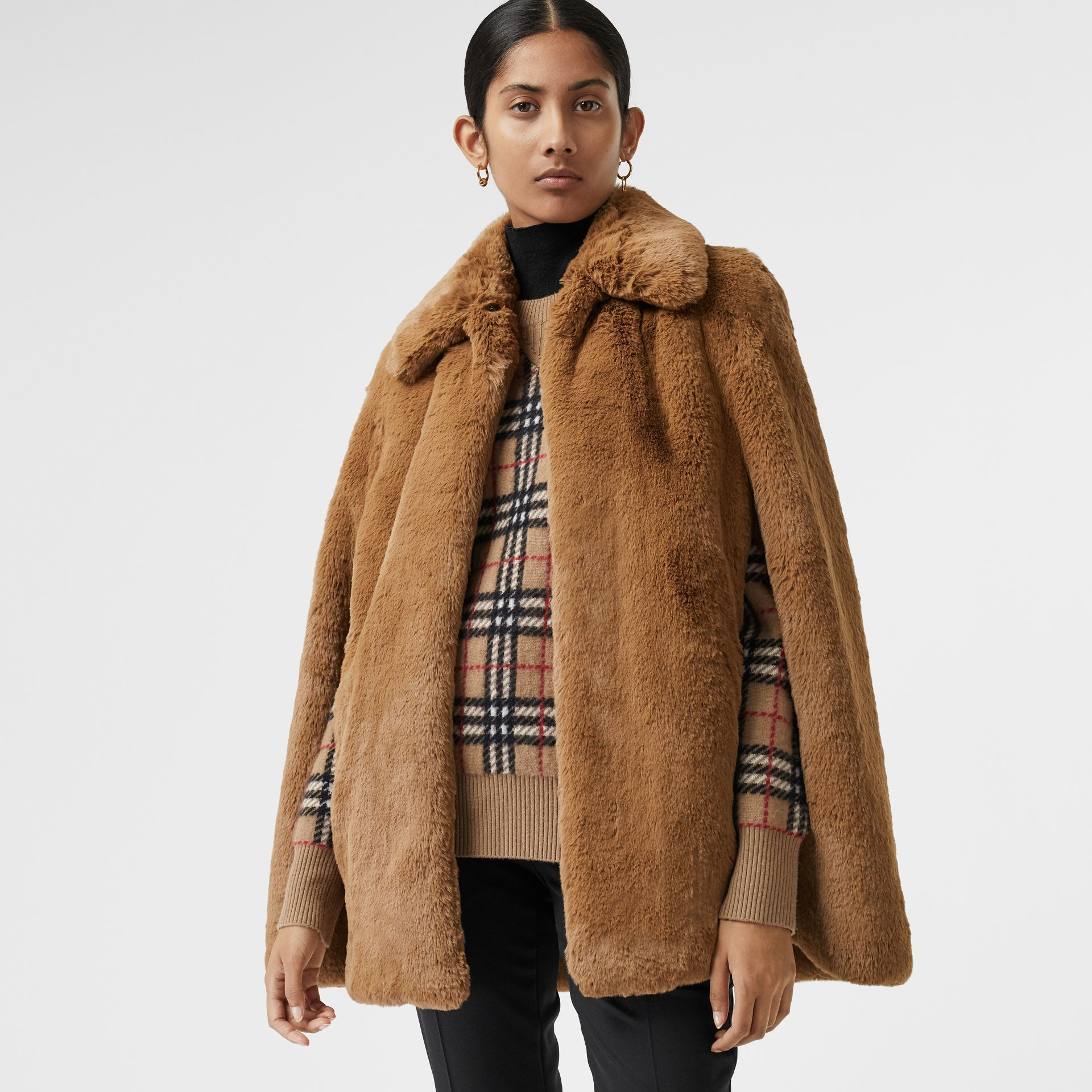 Faux Fur Cape in Camel - Women | Burberry United States - gallery image 3