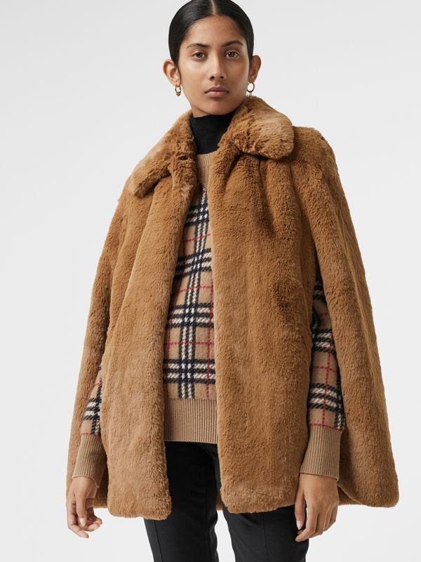 Faux Fur Cape in Camel - Women | Burberry United States - cell image 3