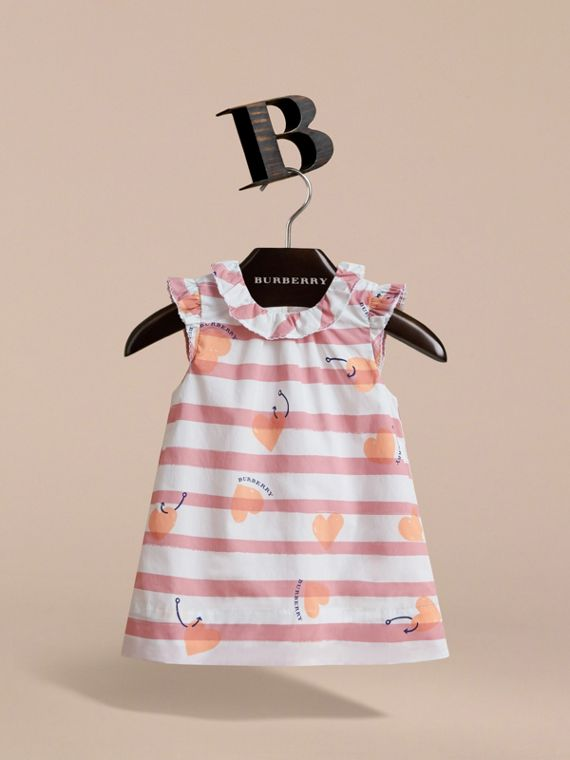 Ruffle Detail Hooked Heart Print Cotton Dress - cell image 2
