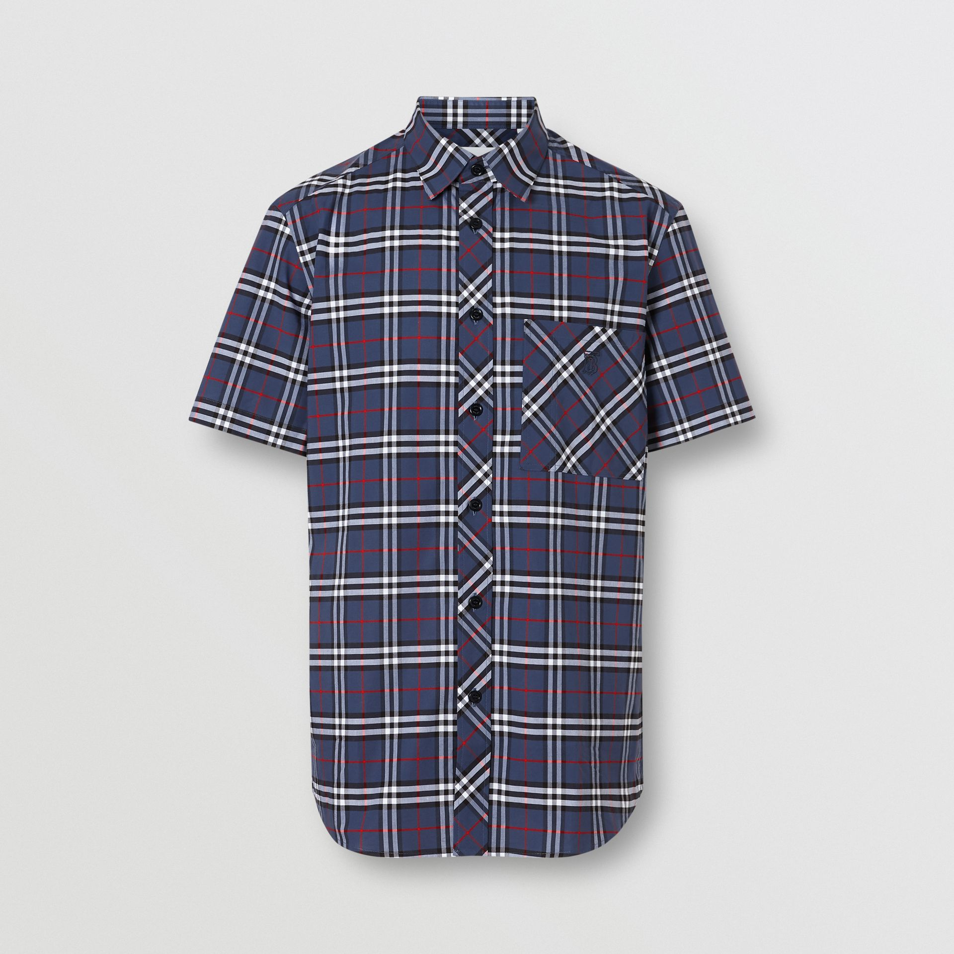 Short-sleeve Small Scale Check Stretch Cotton Shirt in Carbon Blue - Men | Burberry Australia - gallery image 3