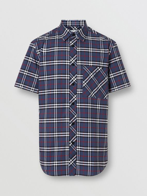 Short-sleeve Small Scale Check Stretch Cotton Shirt in Carbon Blue