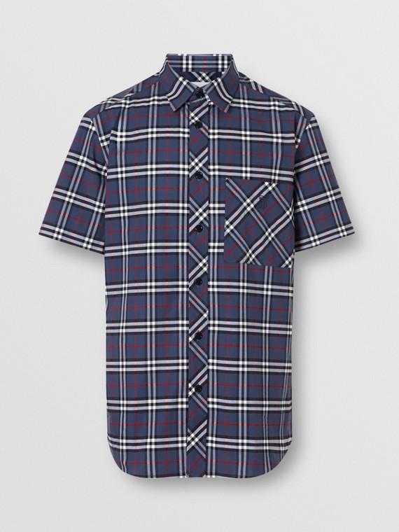 Kurzärmeliges Hemd aus Stretchbaumwolle mit kleinteiligem Karomuster (Carbonblau)