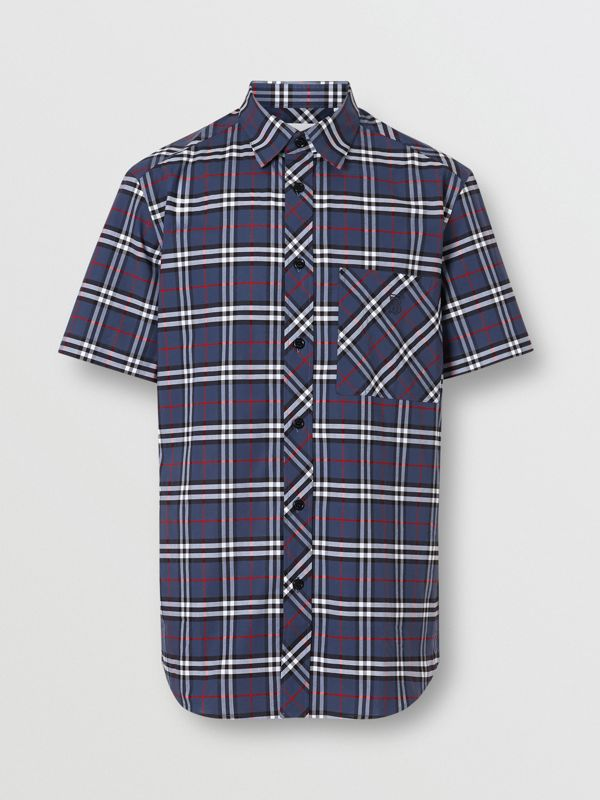 Short-sleeve Small Scale Check Stretch Cotton Shirt in Carbon Blue - Men | Burberry - cell image 3