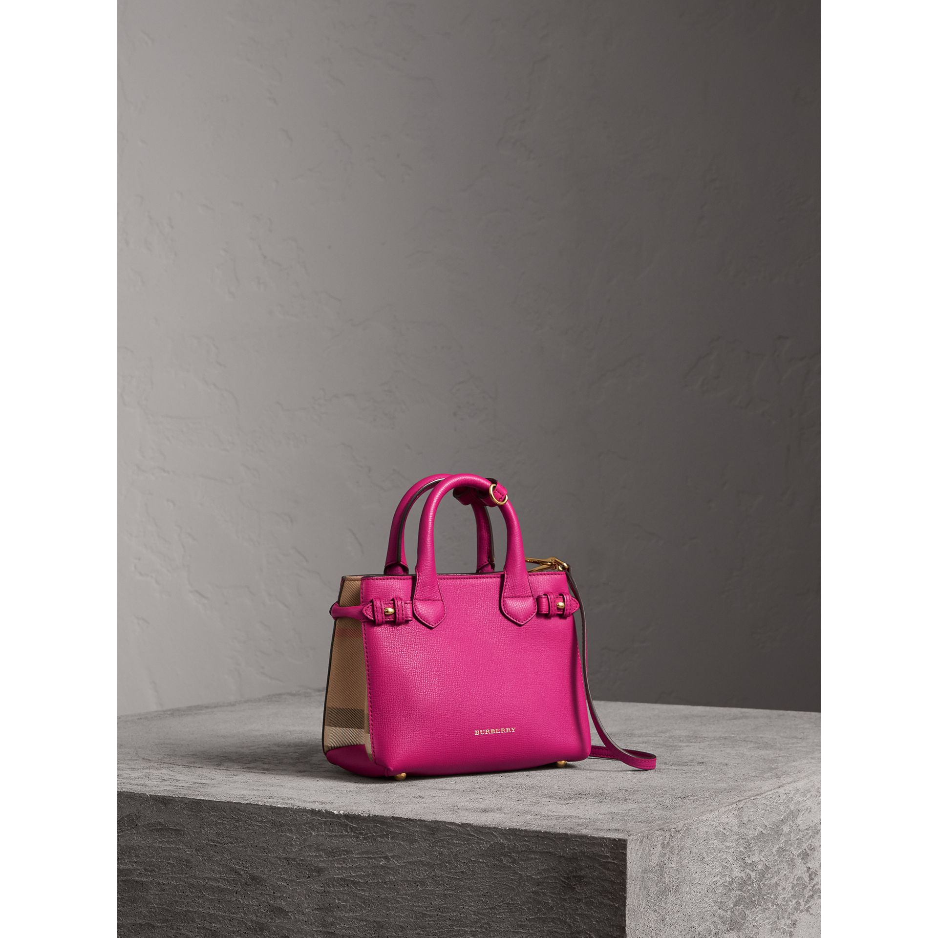 The Baby Banner in Leather and House Check in Brilliant Fuchsia - Women | Burberry Australia - gallery image 1