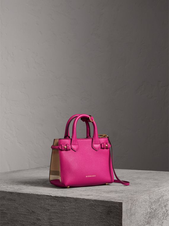 Borsa The Baby Banner in pelle con motivo House check (Fucsia Brillante) - Donna | Burberry