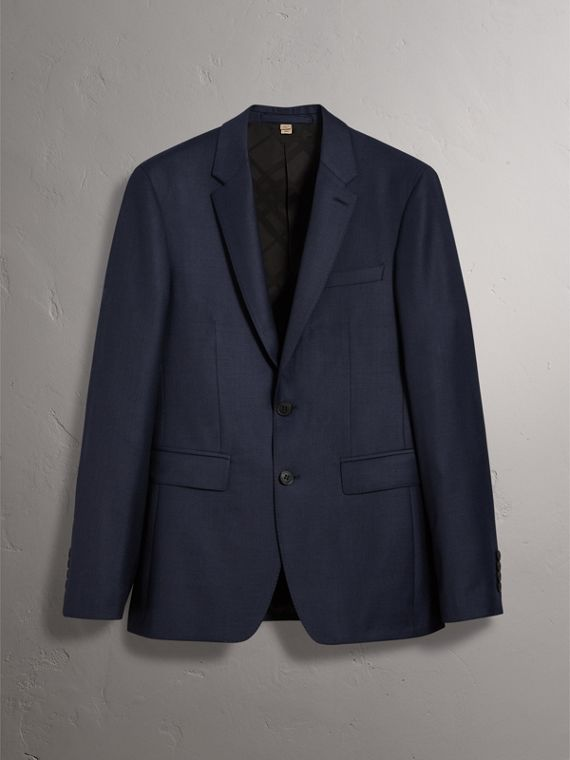Slim Fit Travel Tailoring Three-piece Wool Suit in Navy - Men | Burberry Hong Kong - cell image 3