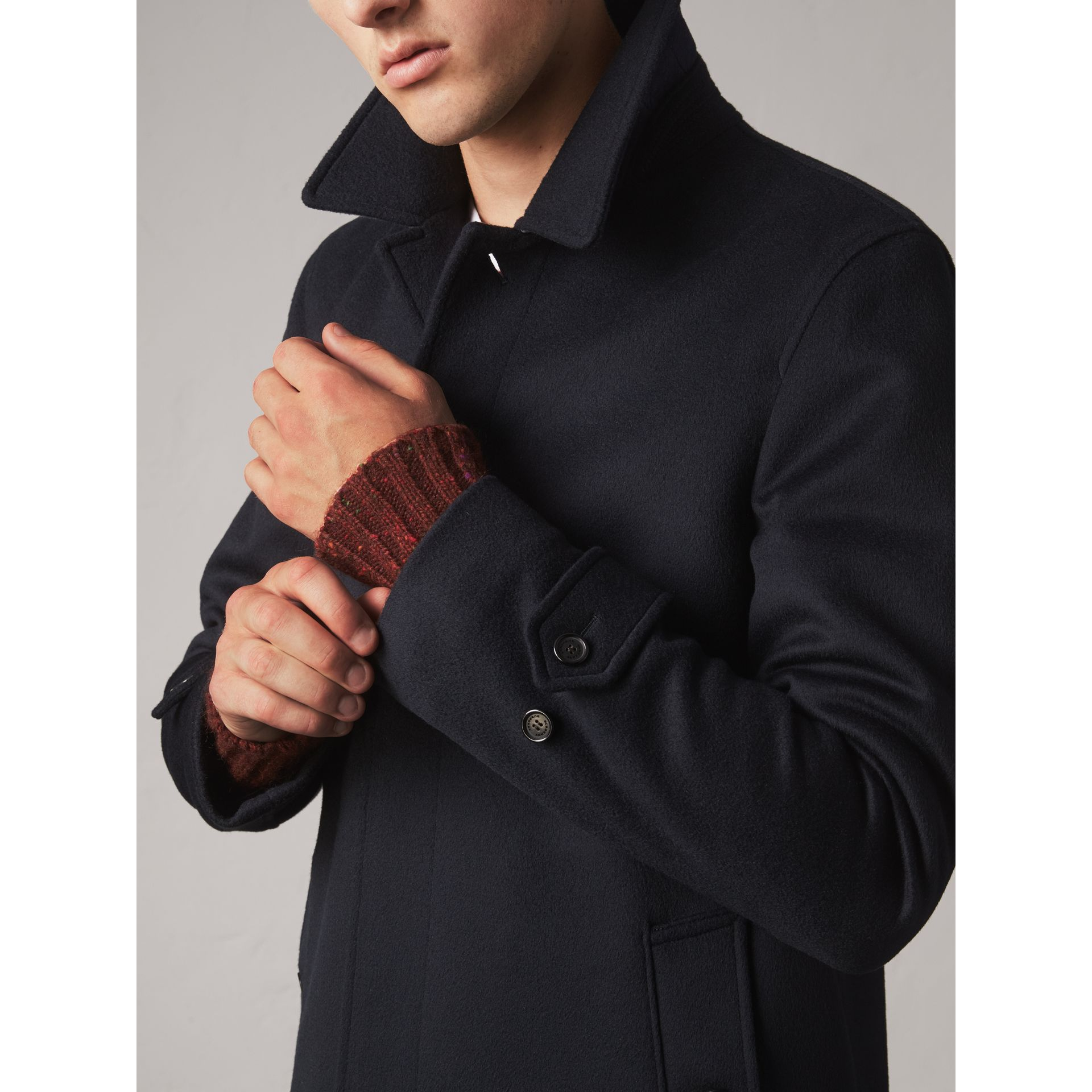 Wool Cashmere Car Coat in Navy - Men | Burberry Singapore - gallery image 2