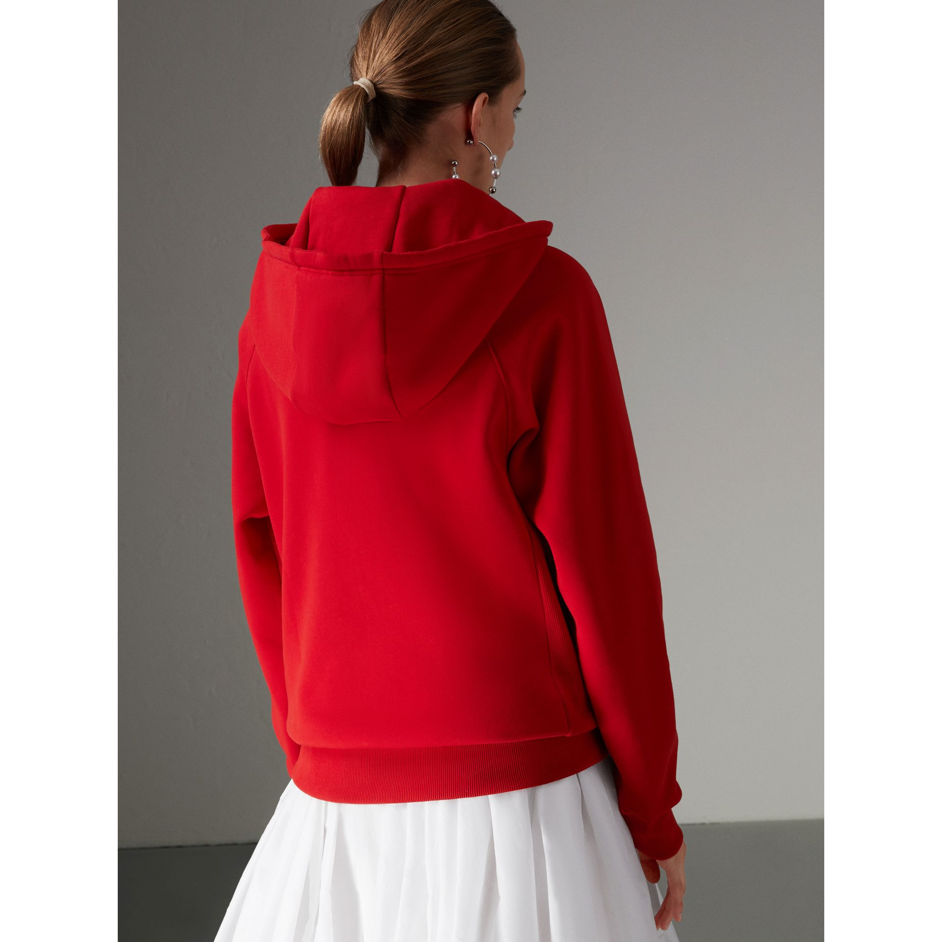 Heart Intarsia Cotton Blend Hoodie in Bright Red - Women | Burberry - gallery image 2