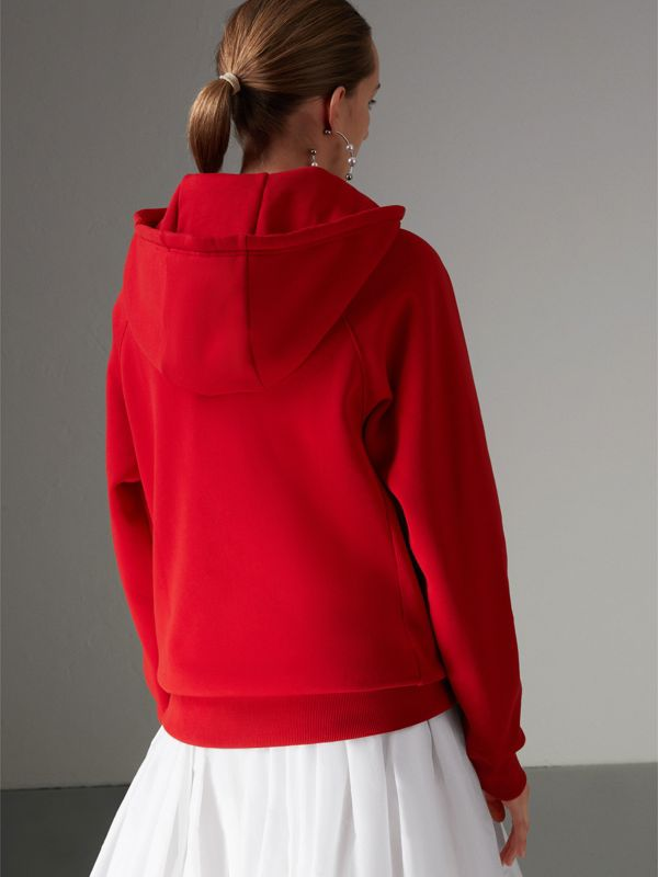 Heart Intarsia Cotton Blend Hoodie in Bright Red - Women | Burberry Australia - cell image 2