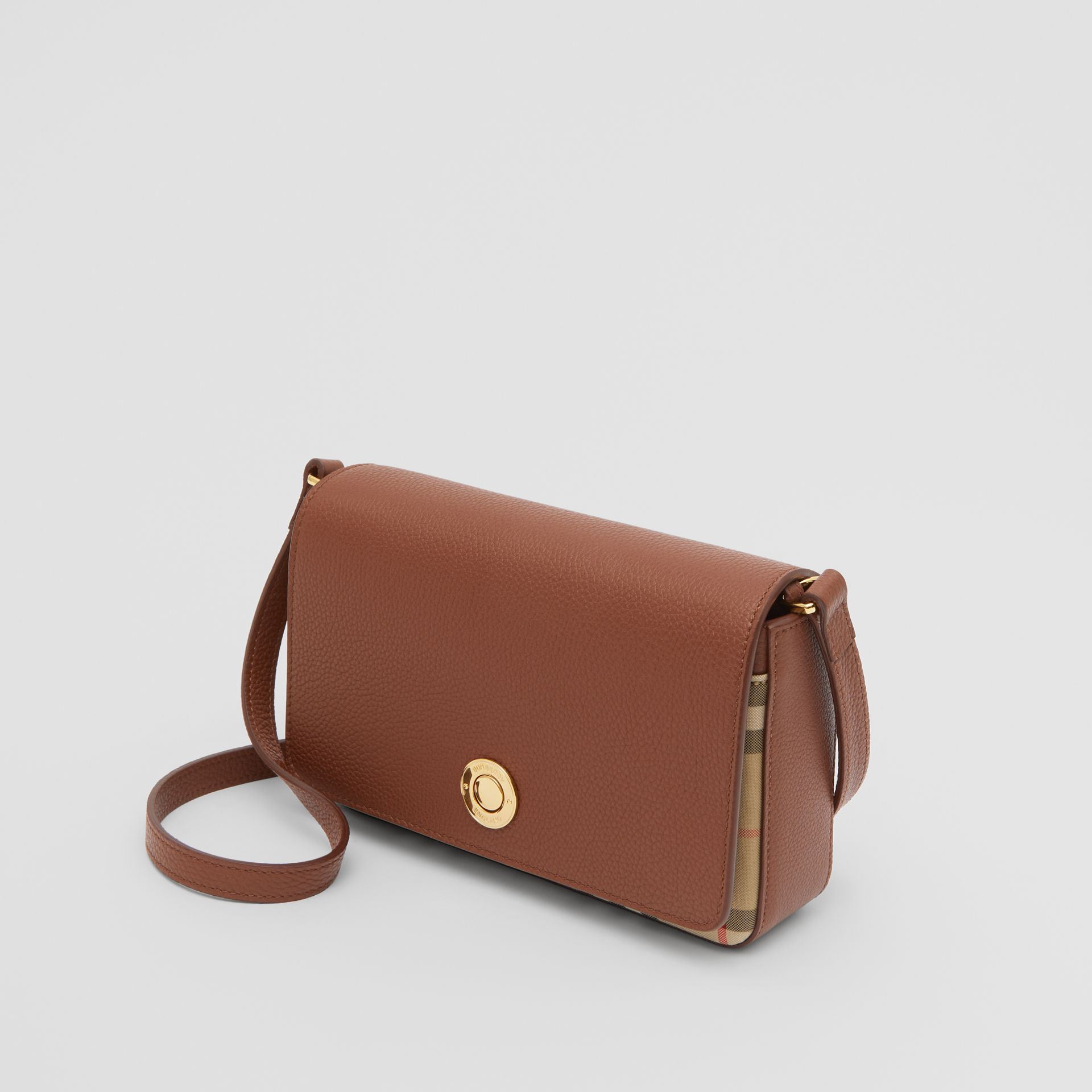 Small Leather and Vintage Check Crossbody Bag in Tan - Women | Burberry United Kingdom - gallery image 2