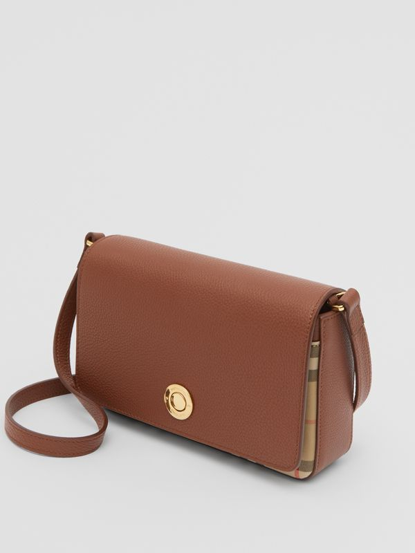 Small Leather and Vintage Check Crossbody Bag in Tan - Women | Burberry United Kingdom - cell image 2