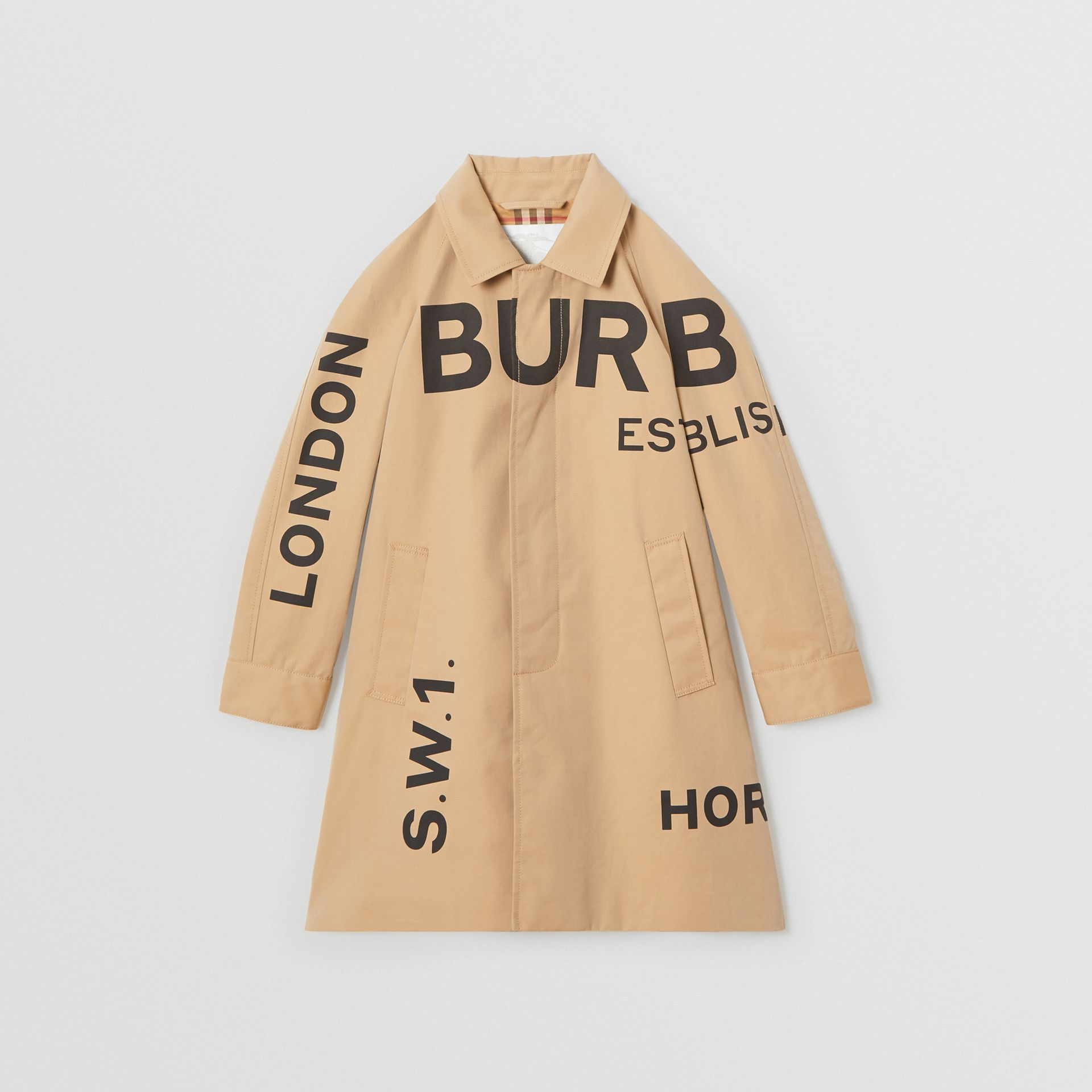 Horseferry Print Cotton Gabardine Car Coat in Honey | Burberry Singapore - gallery image 0