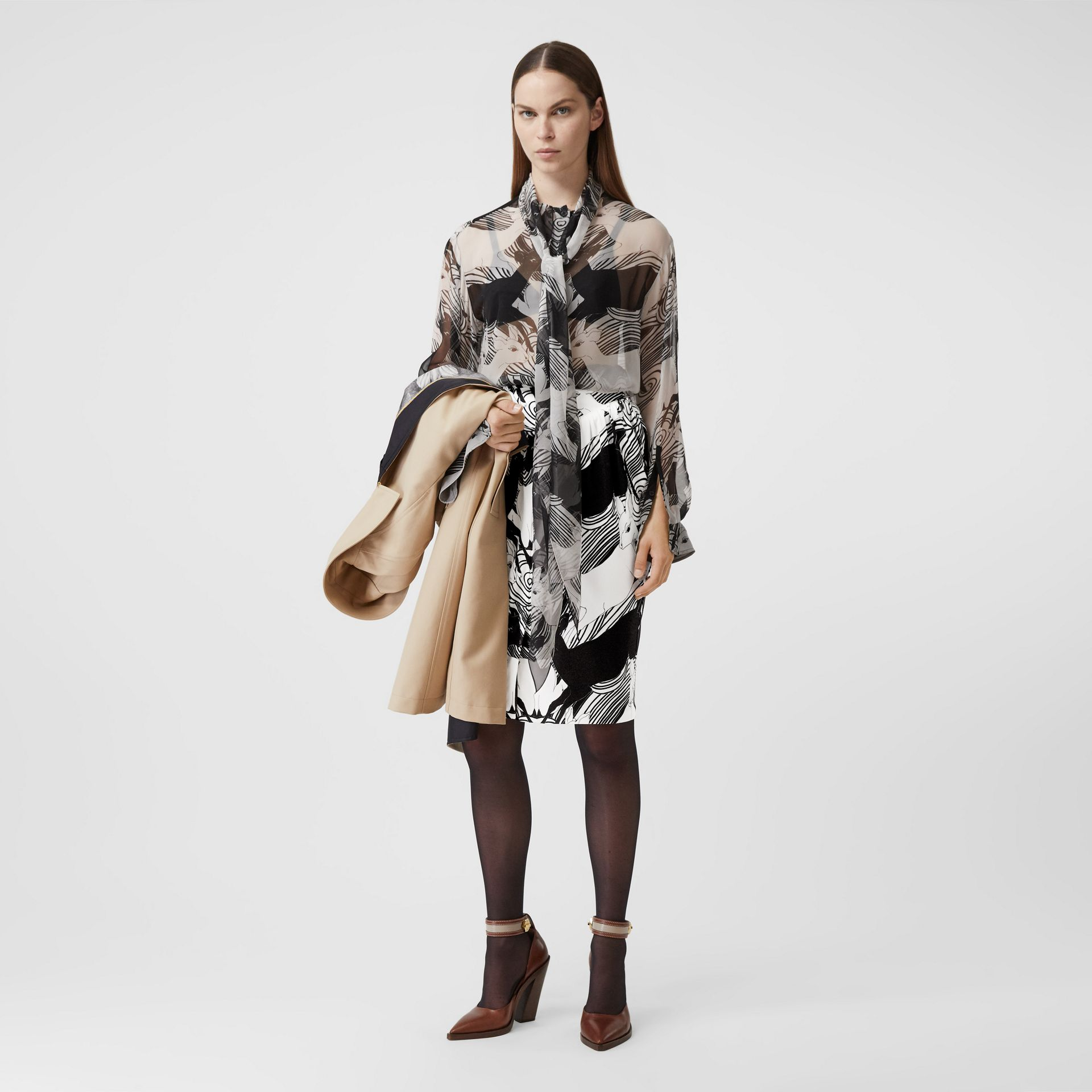 Deer Print Gathered Jersey Sculptural Skirt in Monochrome - Women | Burberry - gallery image 0
