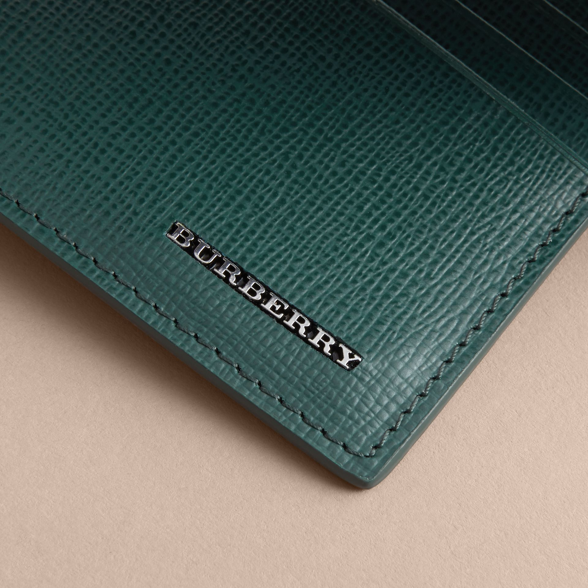 London Leather Card Case in Dark Teal | Burberry - gallery image 4