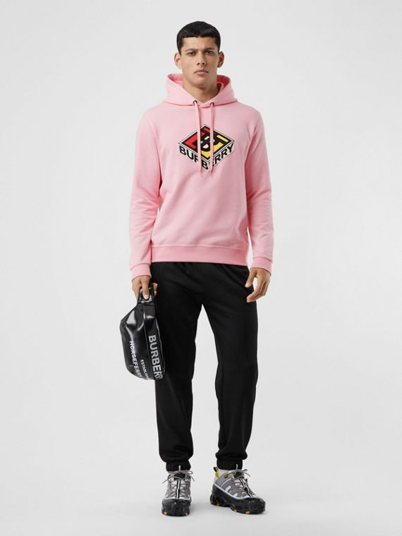 Logo Graphic Cotton Hoodie in Candy Pink