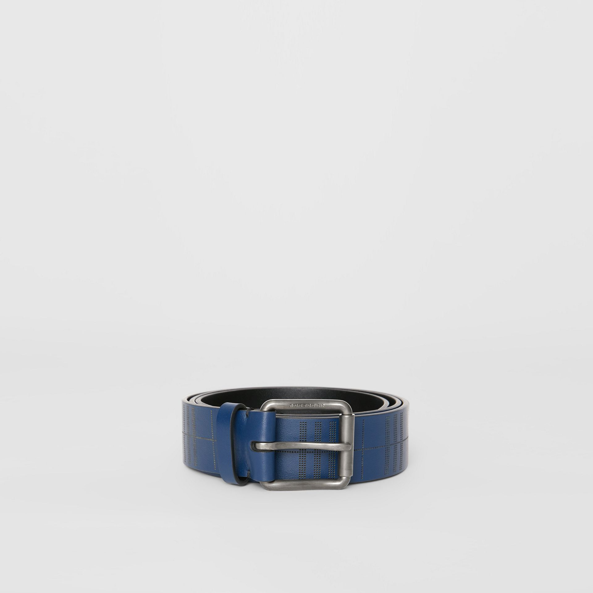 Perforated Check Leather Belt in Ink Blue - Men | Burberry United Kingdom - gallery image 3