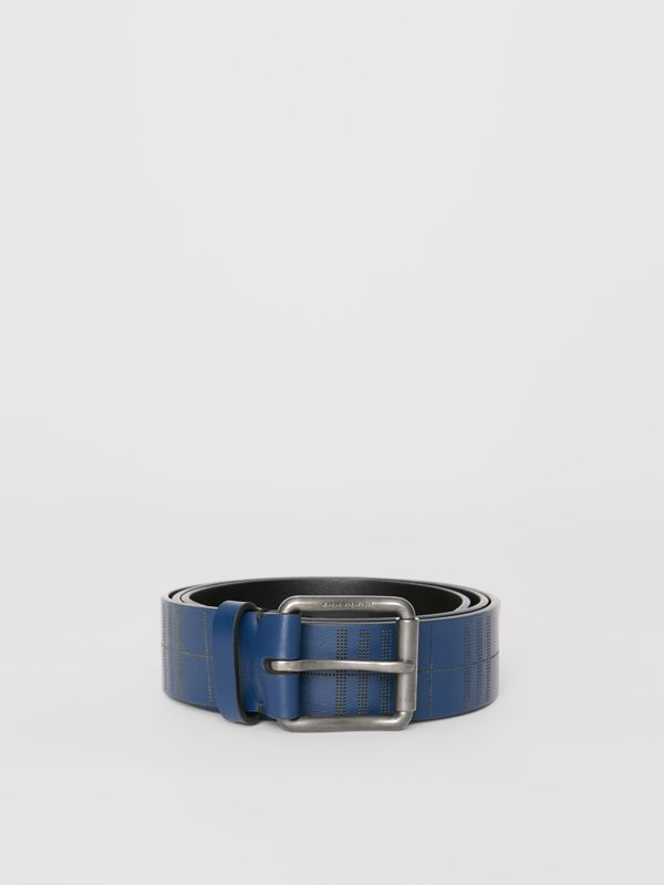 Perforated Check Leather Belt in Ink Blue - Men | Burberry United Kingdom - cell image 3