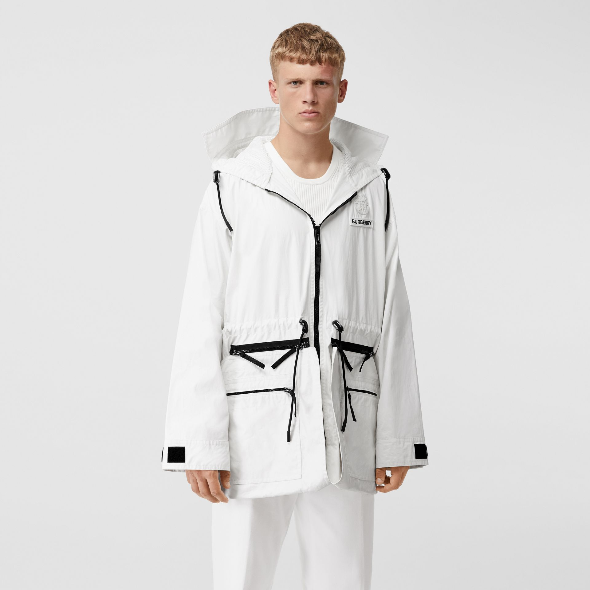 Zip Panel Technical Cotton Parka in Optic White | Burberry - gallery image 7