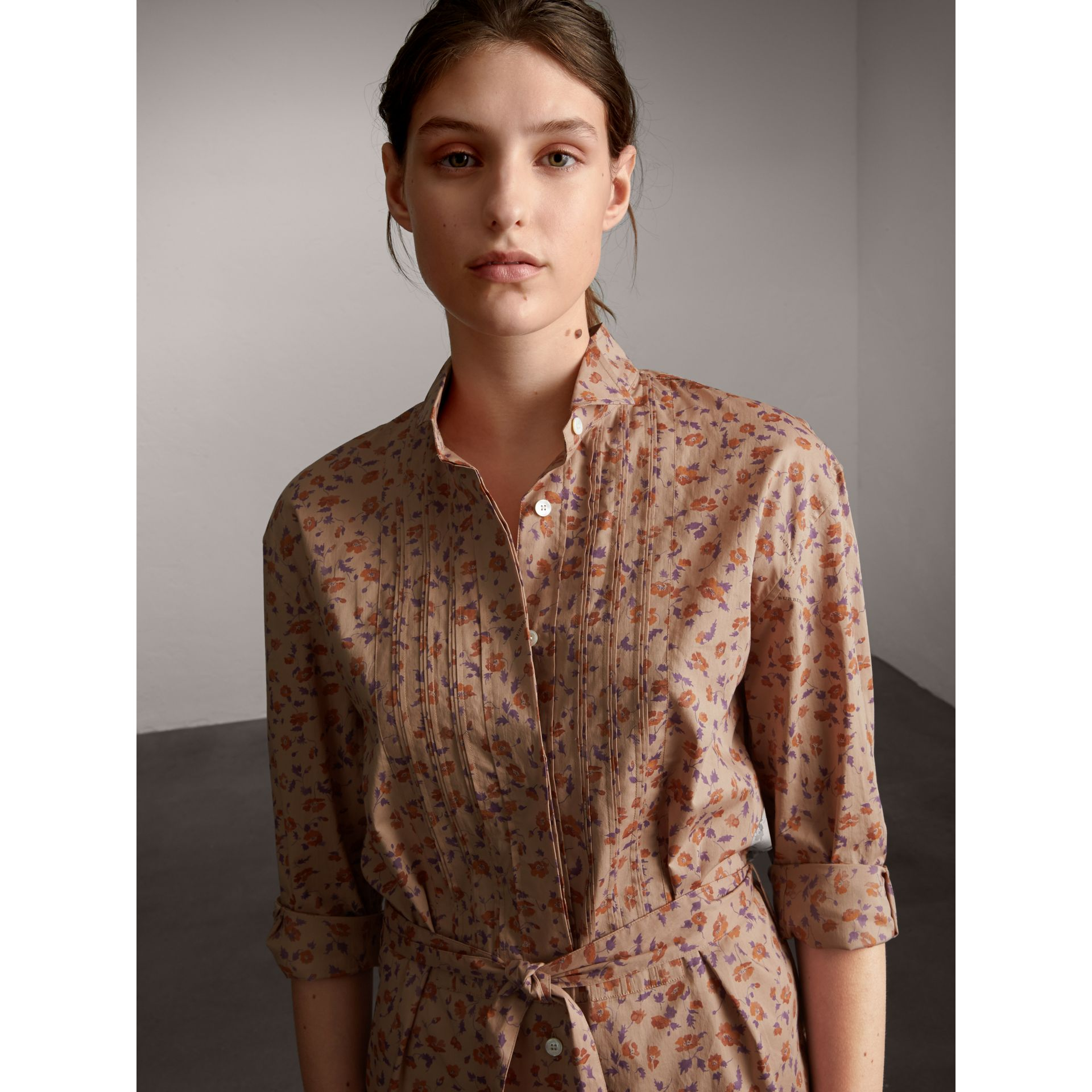 Tie-waist Floral Print Cotton Shirt Dress in Light Copper - Women | Burberry - gallery image 6