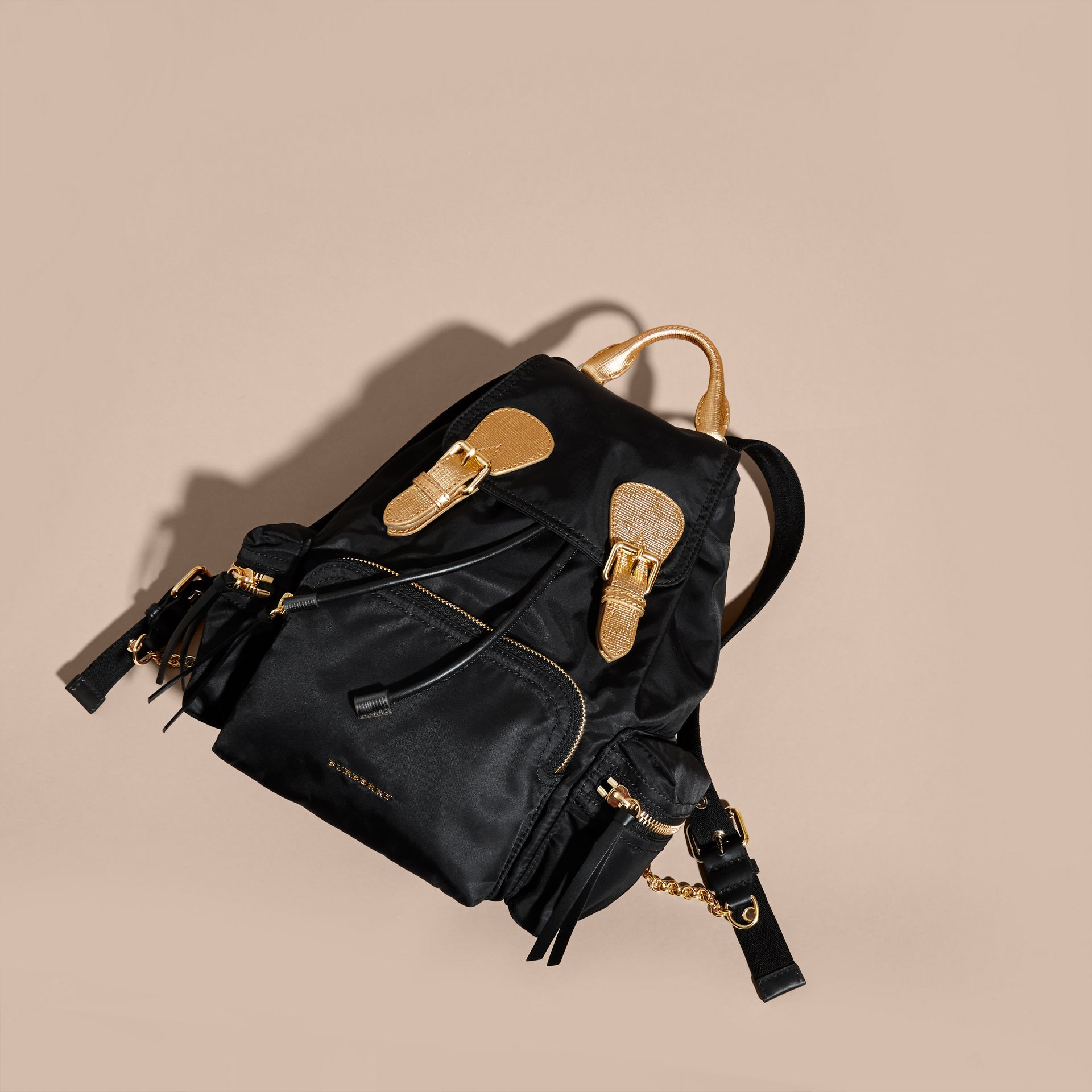 The Medium Rucksack in Two-tone Nylon and Leather Black/gold - gallery image 8