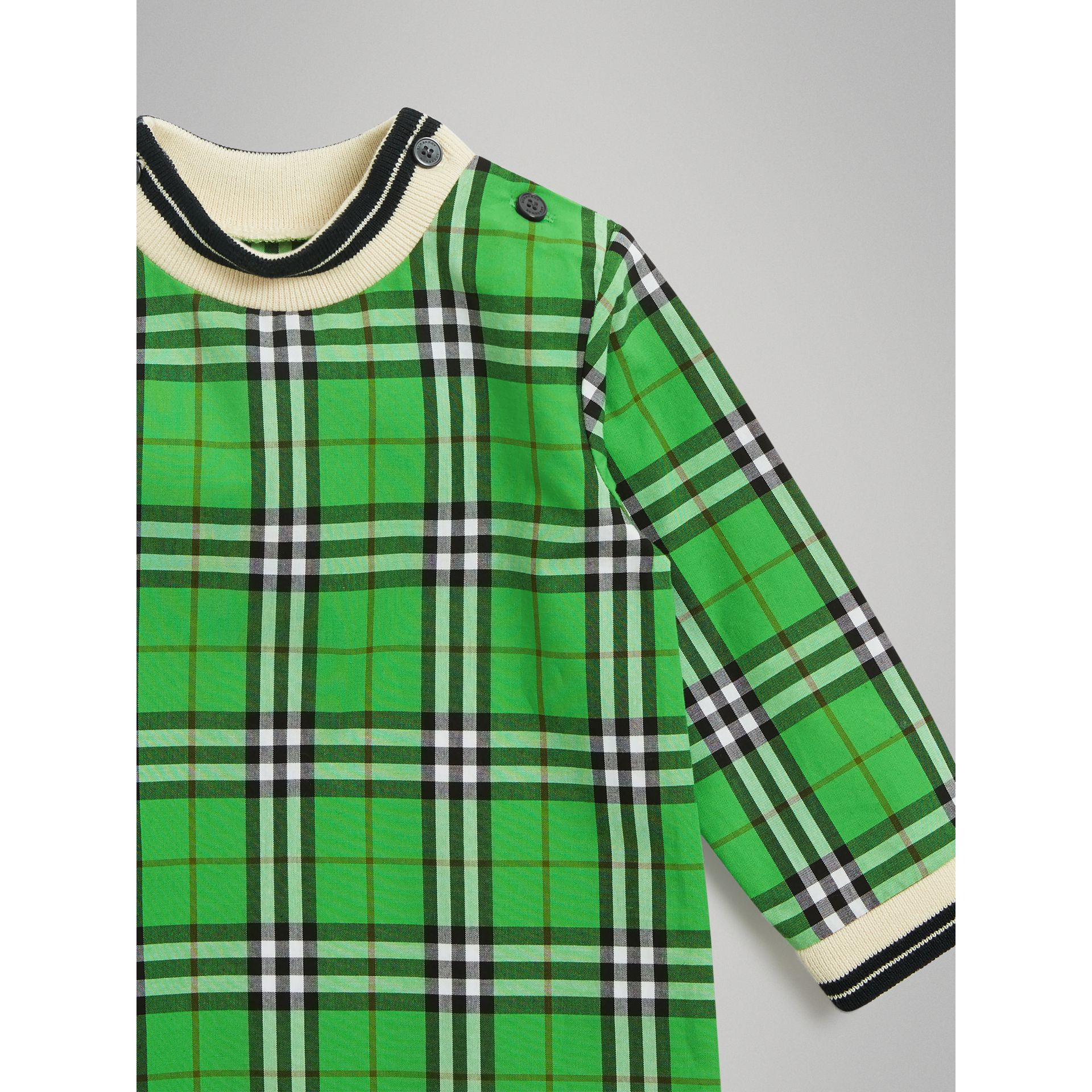 Check Cotton Jumpsuit in Bright Grass Green - Children | Burberry United States - gallery image 4