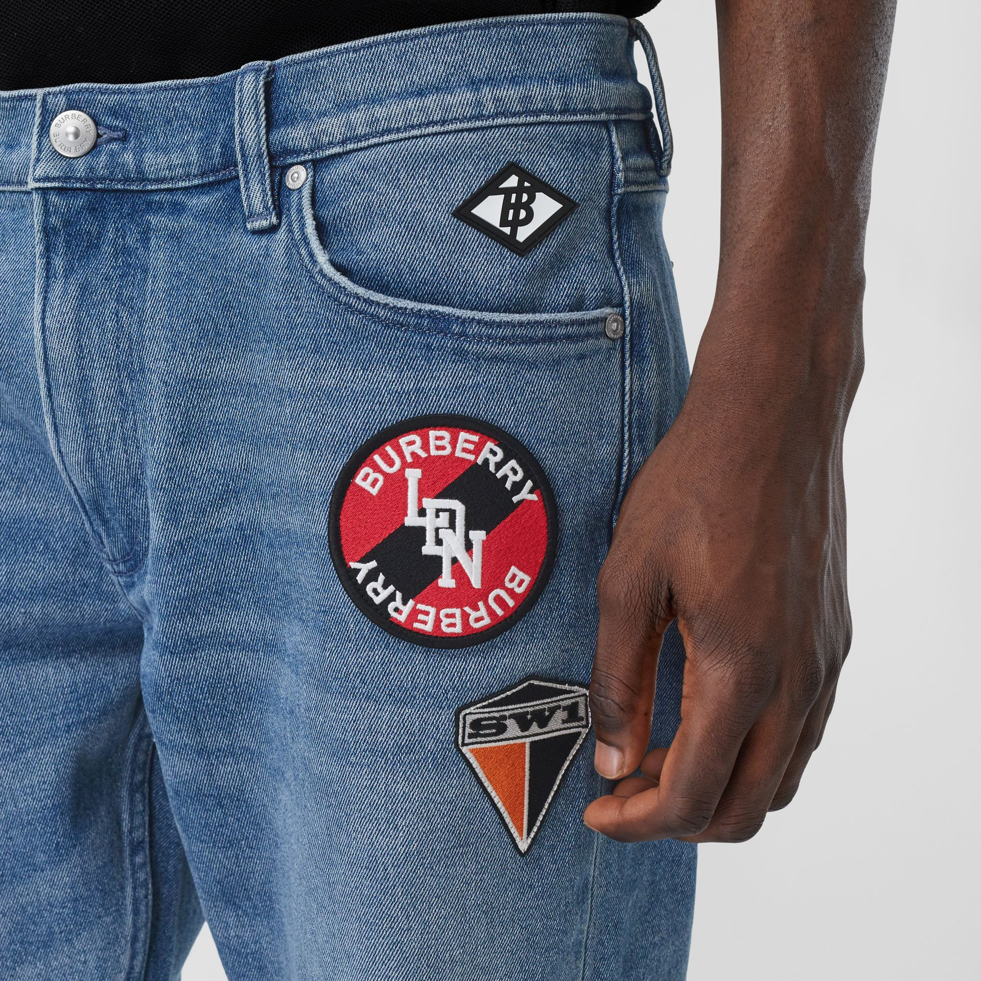 Slim Fit Logo Graphic Washed Jeans in Light Indigo Blue - Men | Burberry - gallery image 1