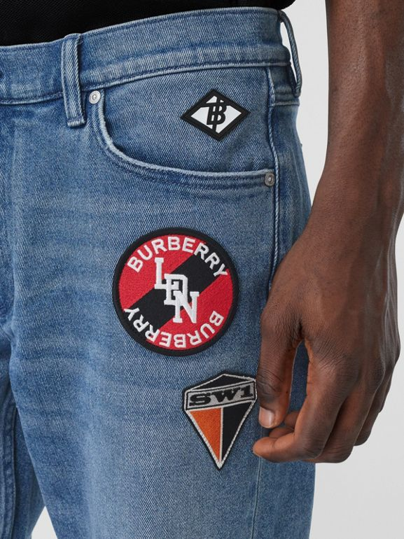 Slim Fit Logo Graphic Washed Jeans in Light Indigo Blue - Men | Burberry - cell image 1