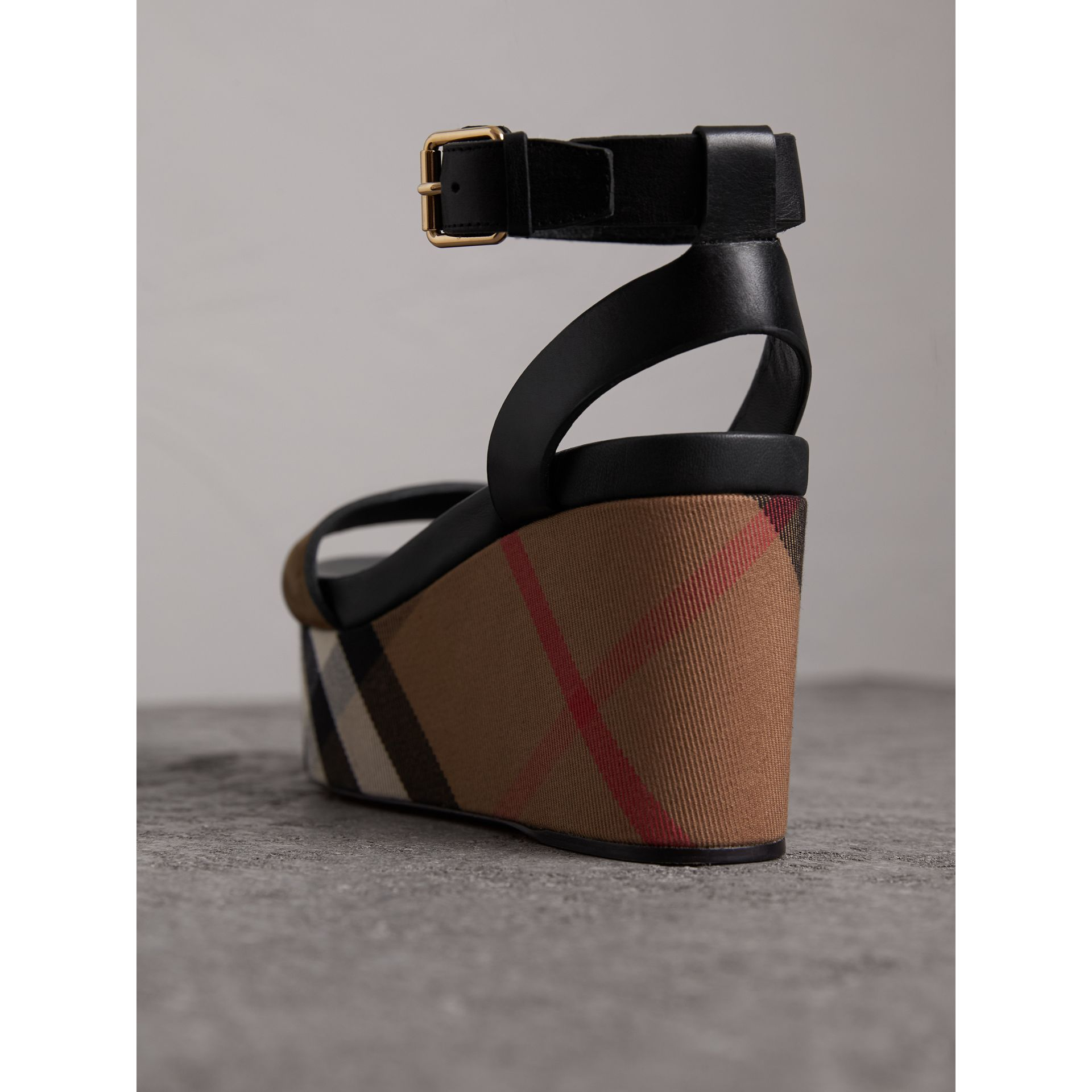 House Check and Leather Wedge Sandals in Dark Heather Melange - Women | Burberry - gallery image 3