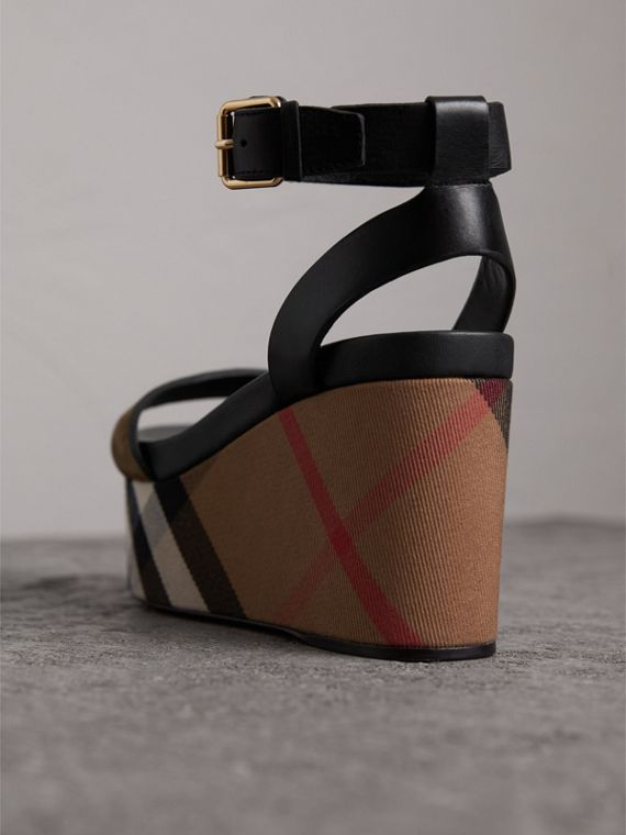 House Check and Leather Wedge Sandals in Dark Heather Melange - Women | Burberry - cell image 3