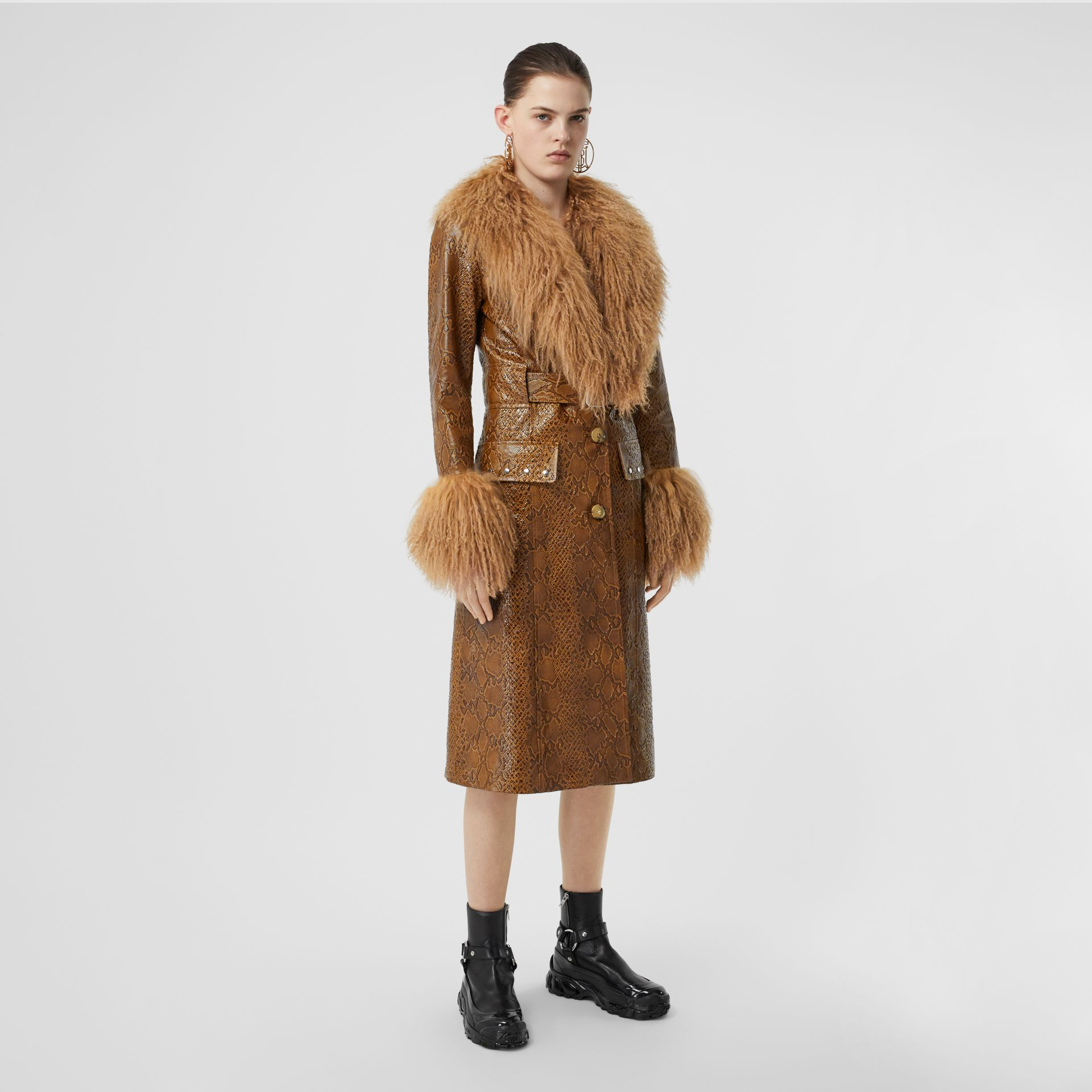 Shearling Trim Python Print Leather Coat in Brown - Women | Burberry United Kingdom - gallery image 5