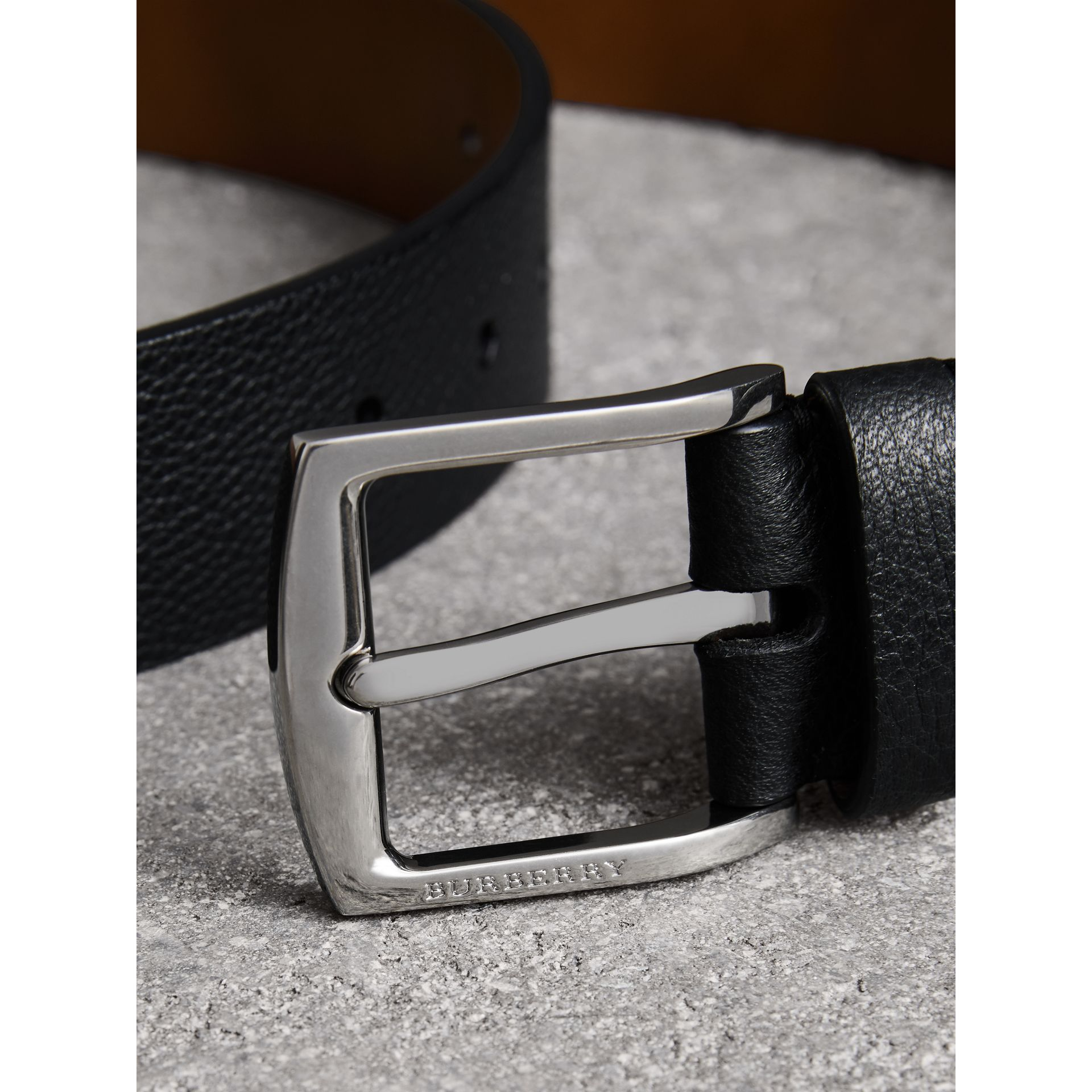 Grainy Leather Belt in Black - Men | Burberry United Kingdom - gallery image 1