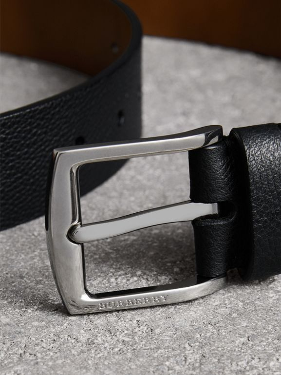 Grainy Leather Belt in Black - Men | Burberry United Kingdom - cell image 1