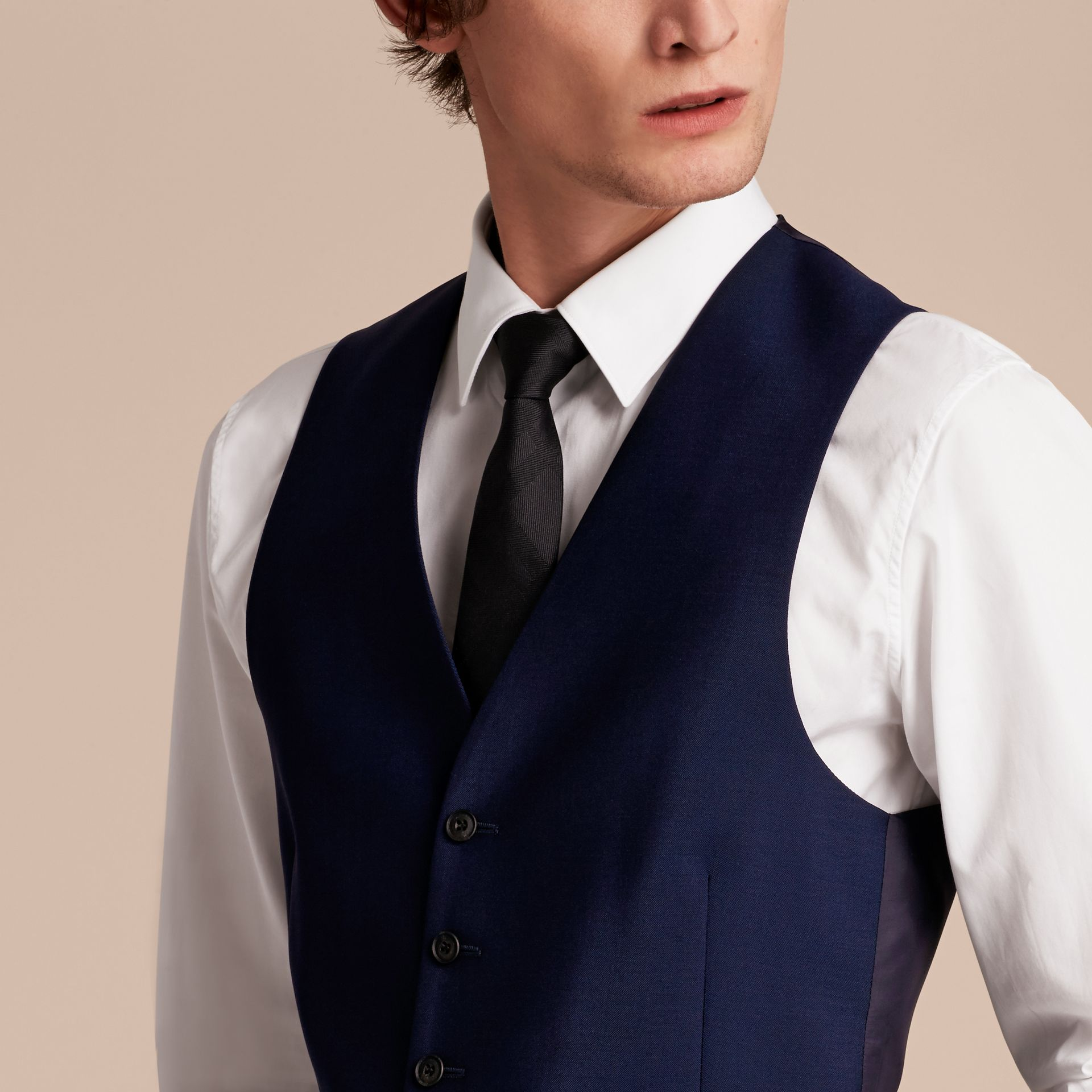 Slim Fit Wool Mohair Waistcoat in Navy - Men | Burberry United States - gallery image 4