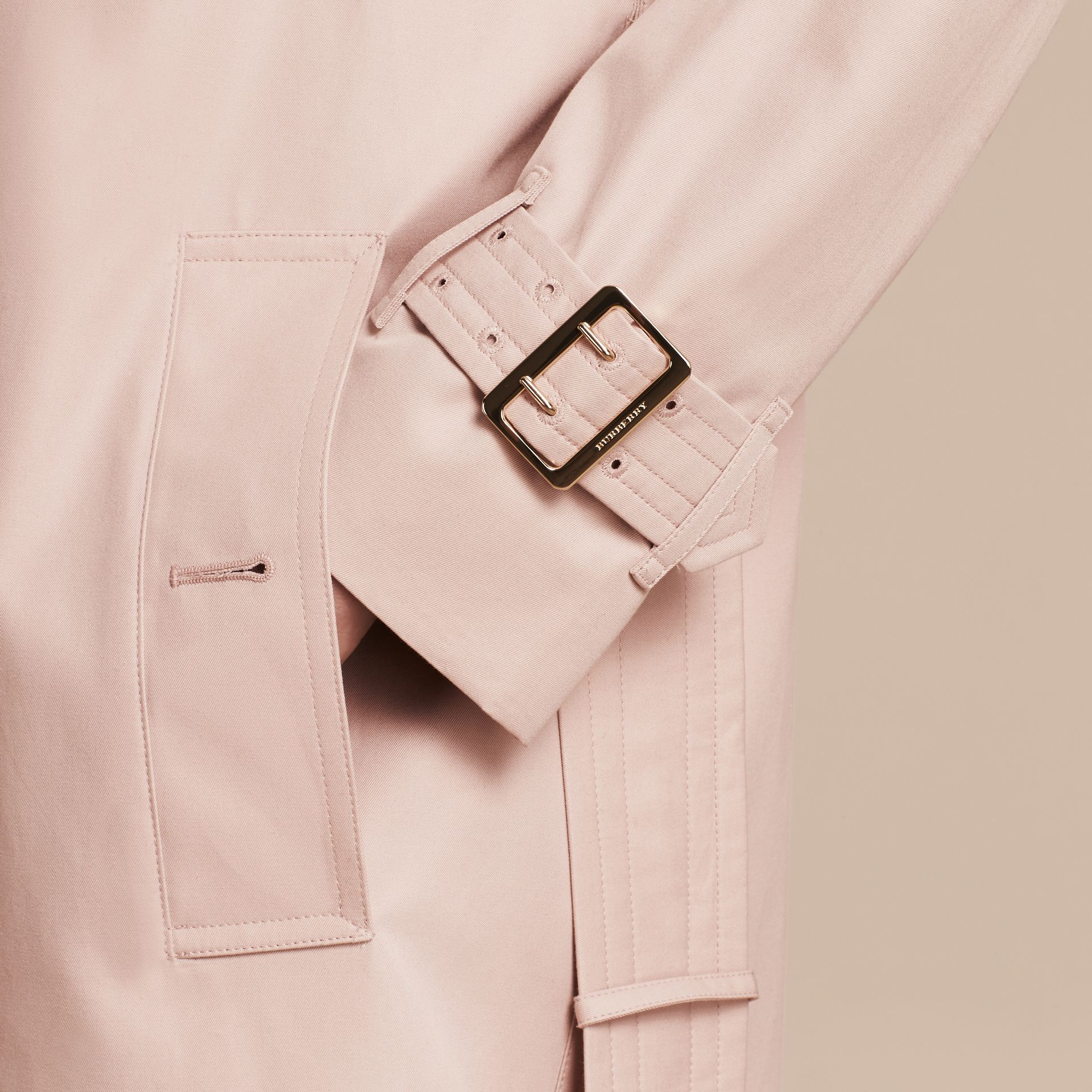 Single-breasted Trench Coat with Metal Buckle Detail Ice Pink - gallery image 6
